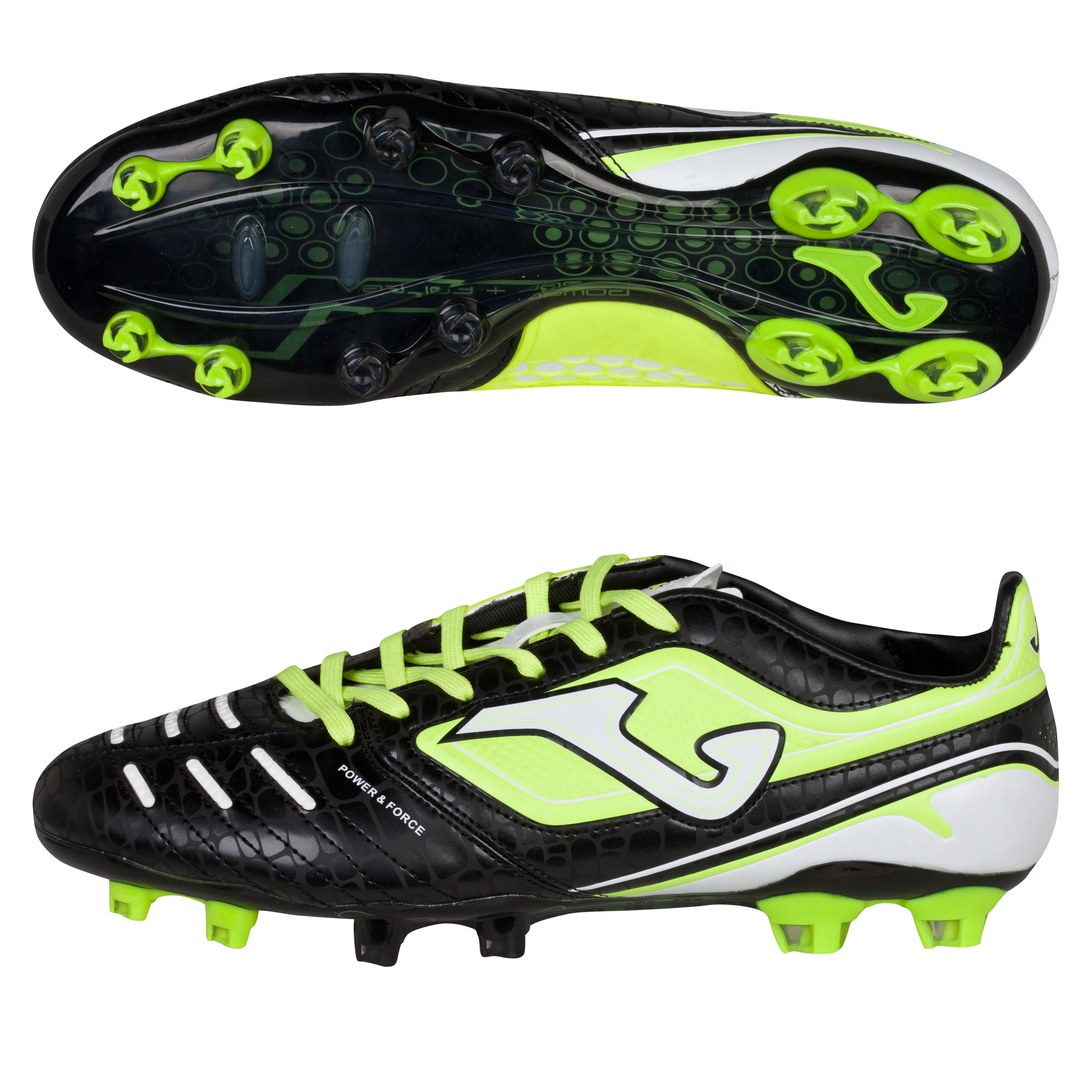 Joma Power Firm Ground Football Boots - Black/Lime/White