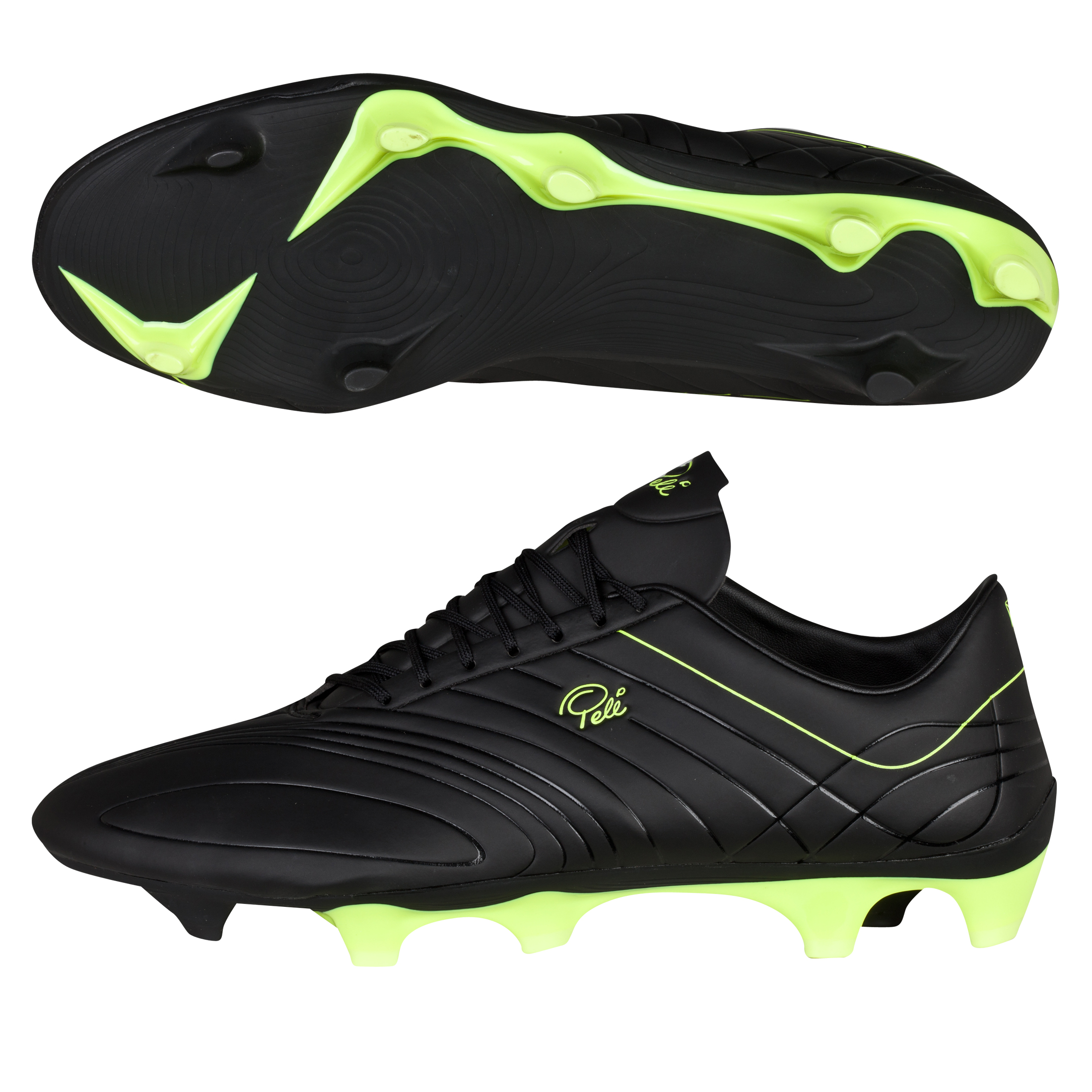 Pele Sports Trinity 3E Firm Ground Football Boots - Black/Neon Yellow