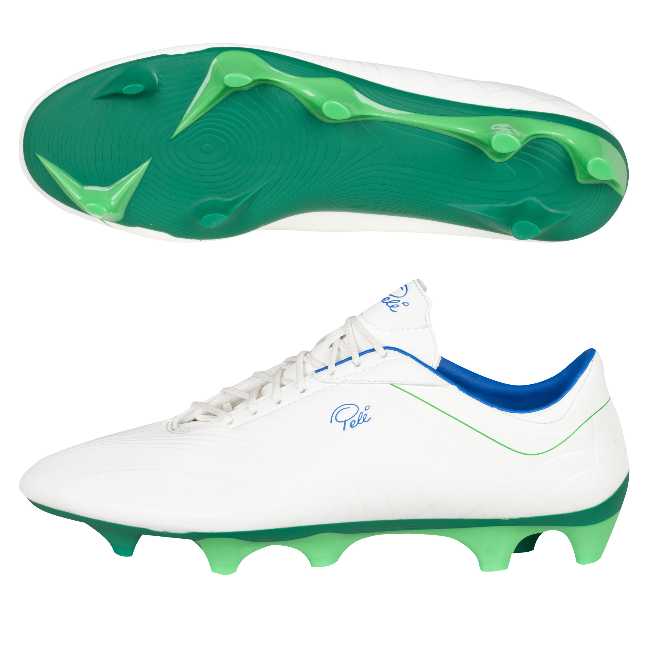 Pele Sports Galileo Firm Ground Football Boots - Snow White/Amazon/Classic Green