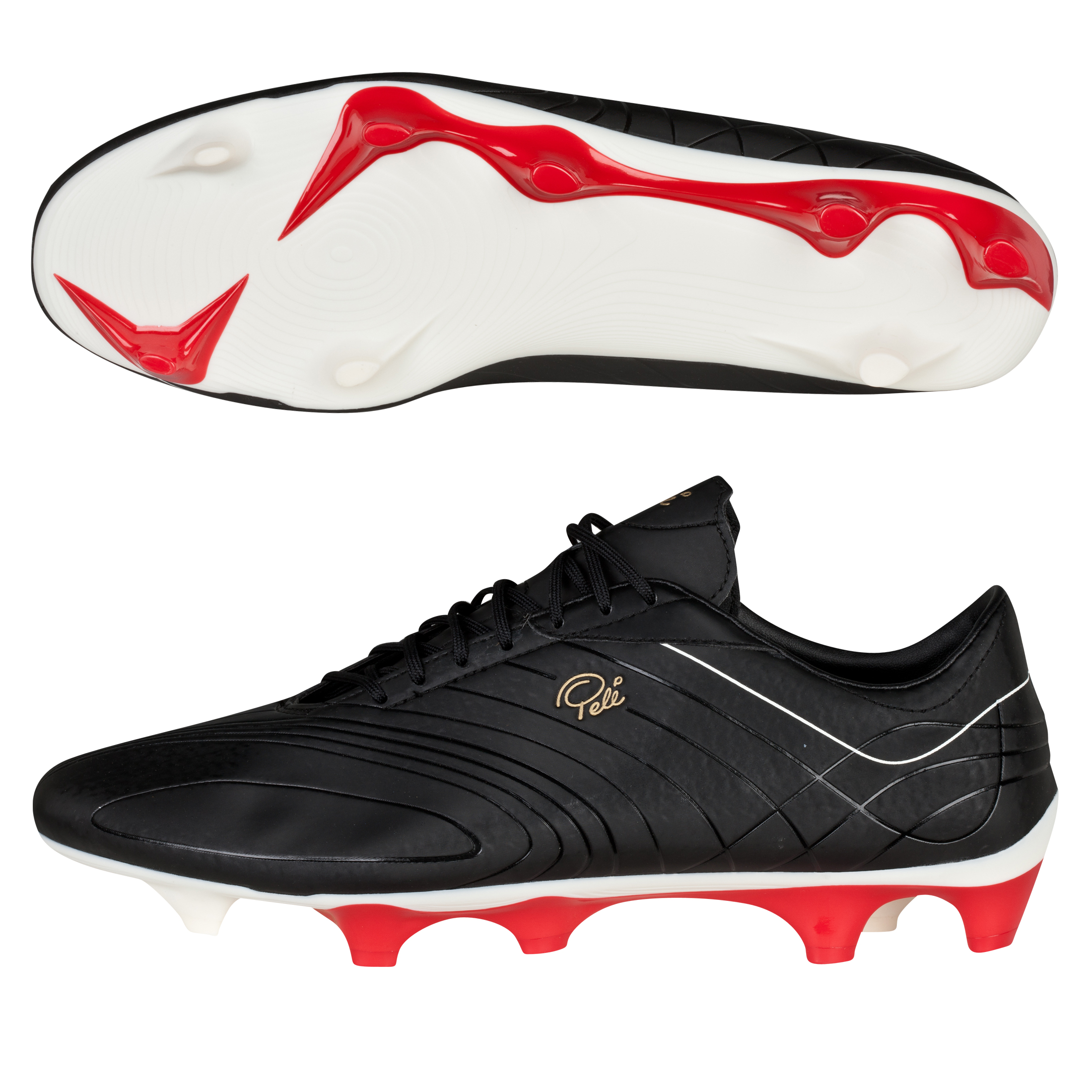 Pele Sports Galileo Firm Ground Football Boots - Black/White/High Risk Red/Rich Gold