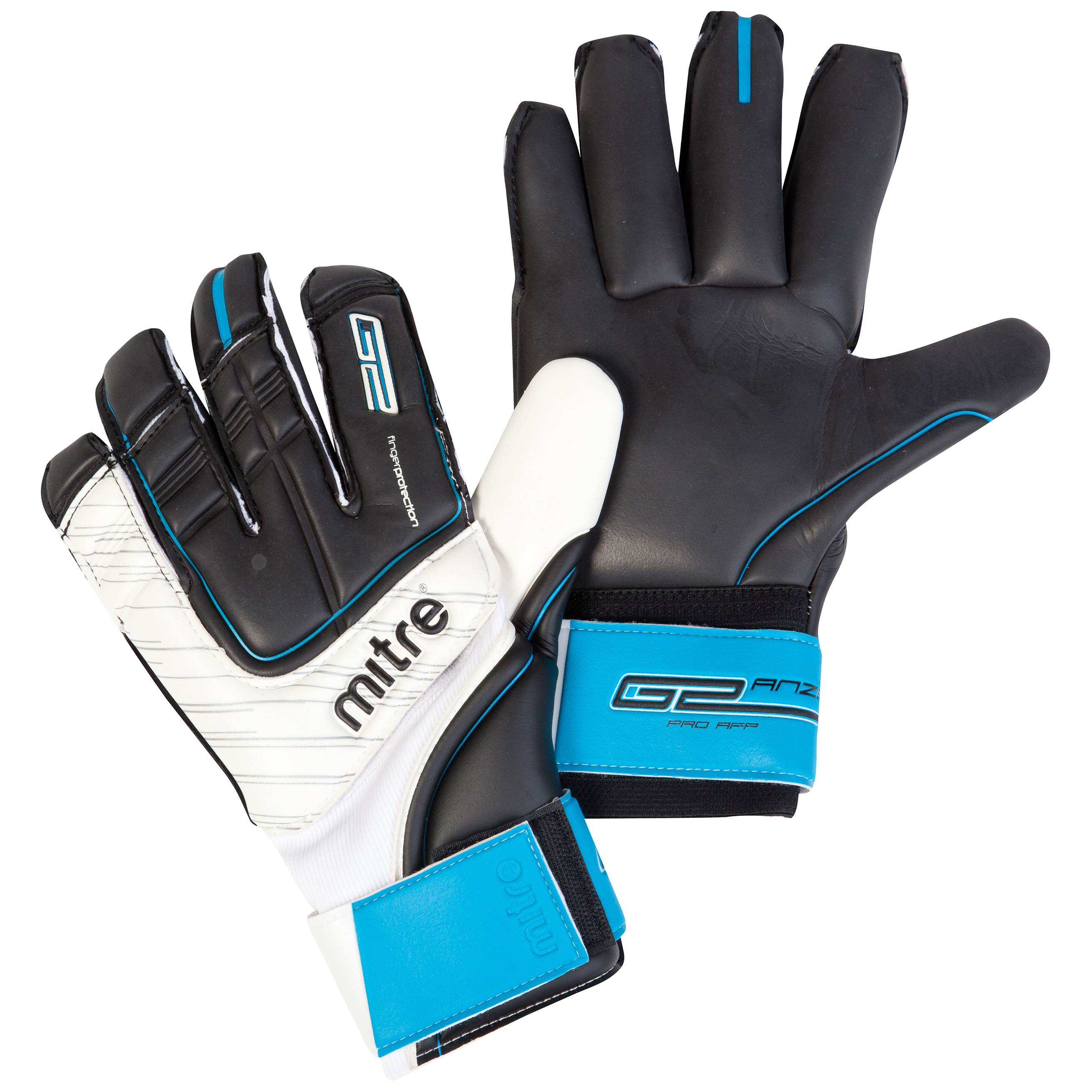 Mitre Anza G2 Pro AFP Goalkeeper Gloves - Black/White/Cyan