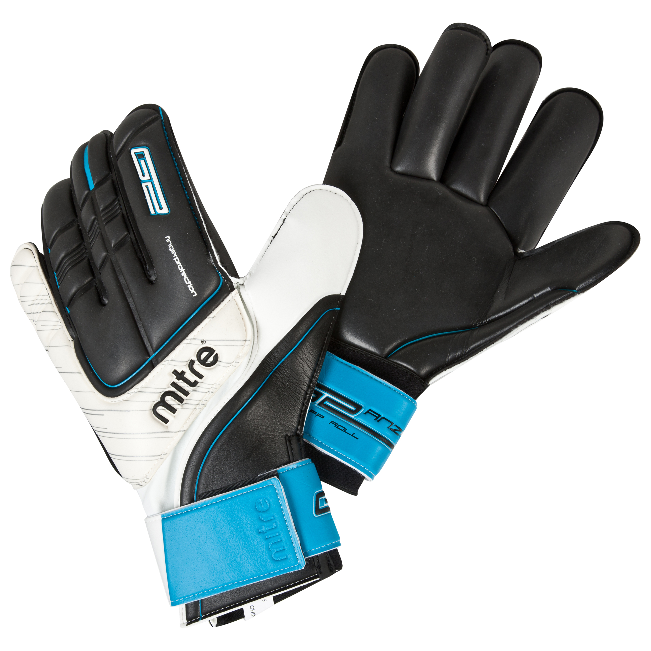 Mitre Anza G2 FP Roll Goalkeeper Gloves - Black/White/Cyan