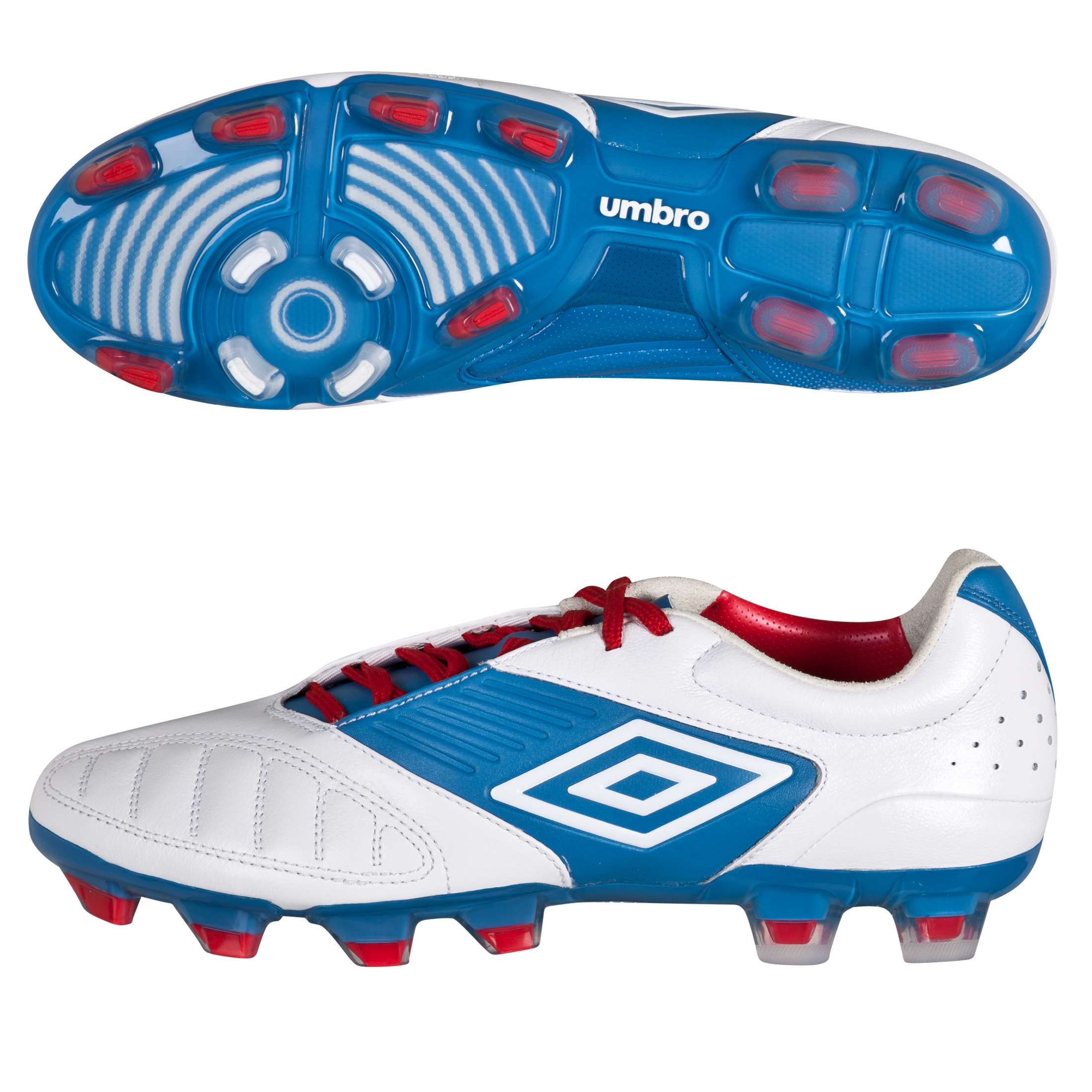 Umbro Geometra Pro Firm Ground Football Boots - White/Brilliant Blue/True Red