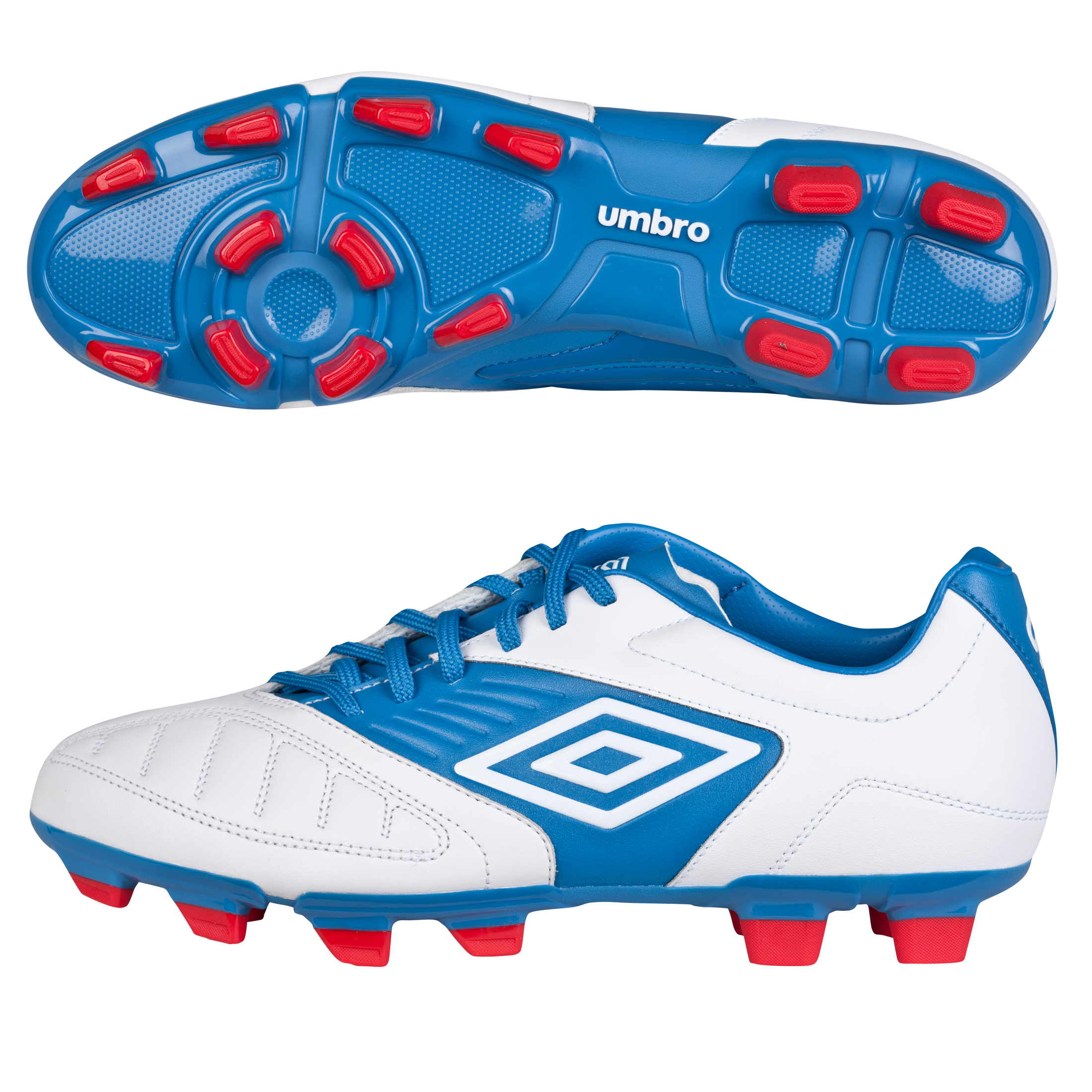 Umbro Geometra Premier Firm Ground Football Boots - White/Brilliant Blue/True Red