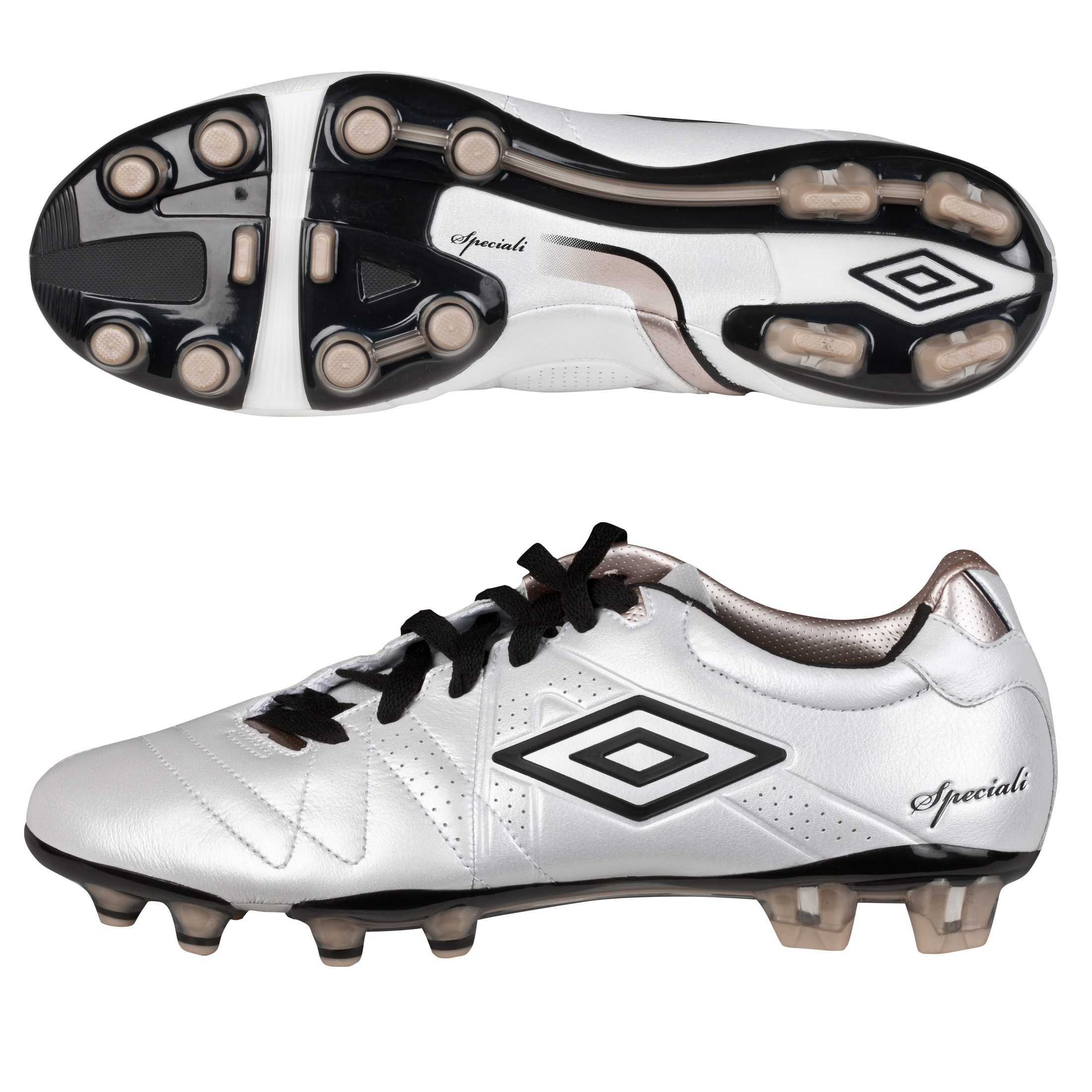 Umbro Speciali 3 Pro Hard Ground Football Boots - Pearlised White/Black/Pewter