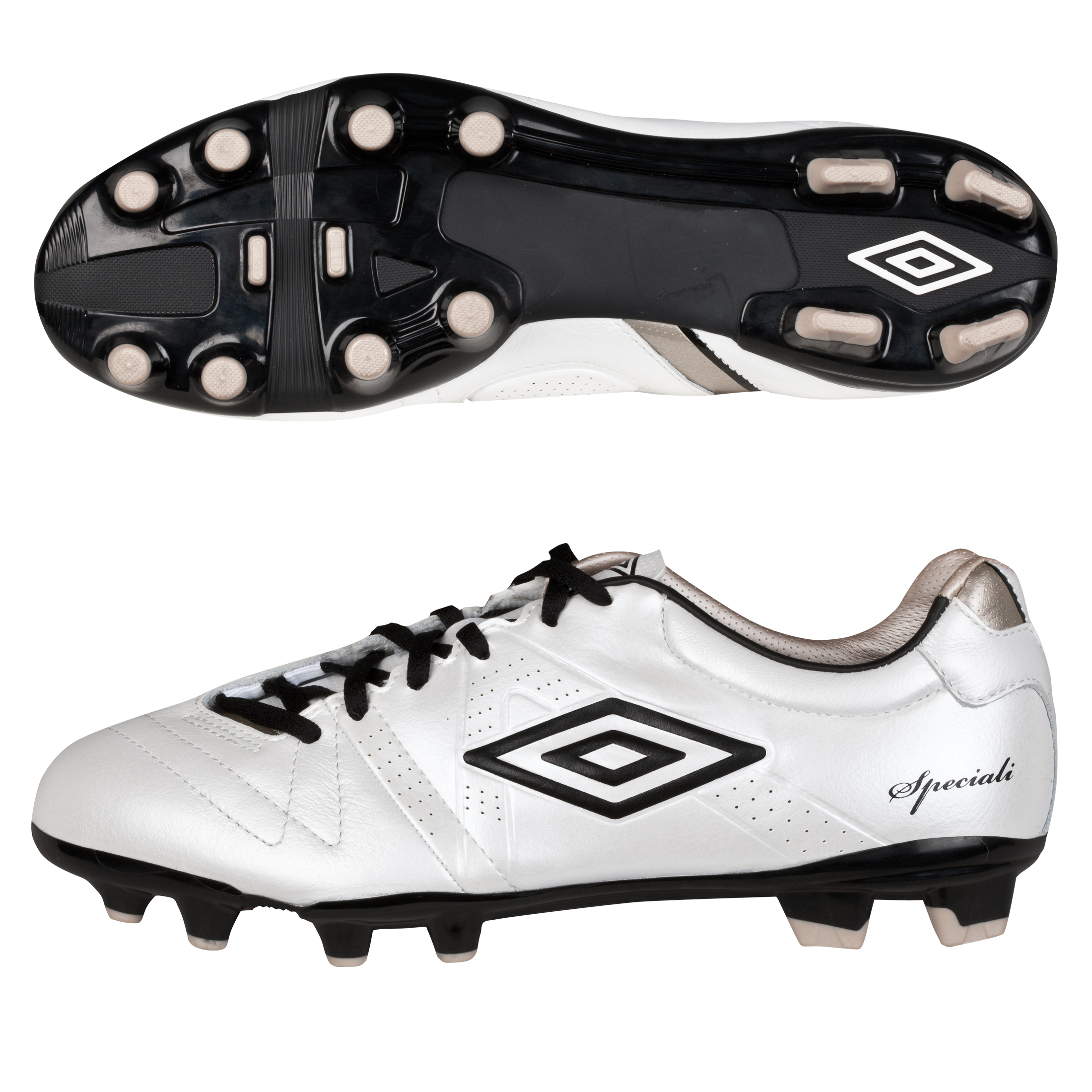 Umbro Speciali 3 Premier Hard Ground Football Boots - Pearlised White/Black/Pewter