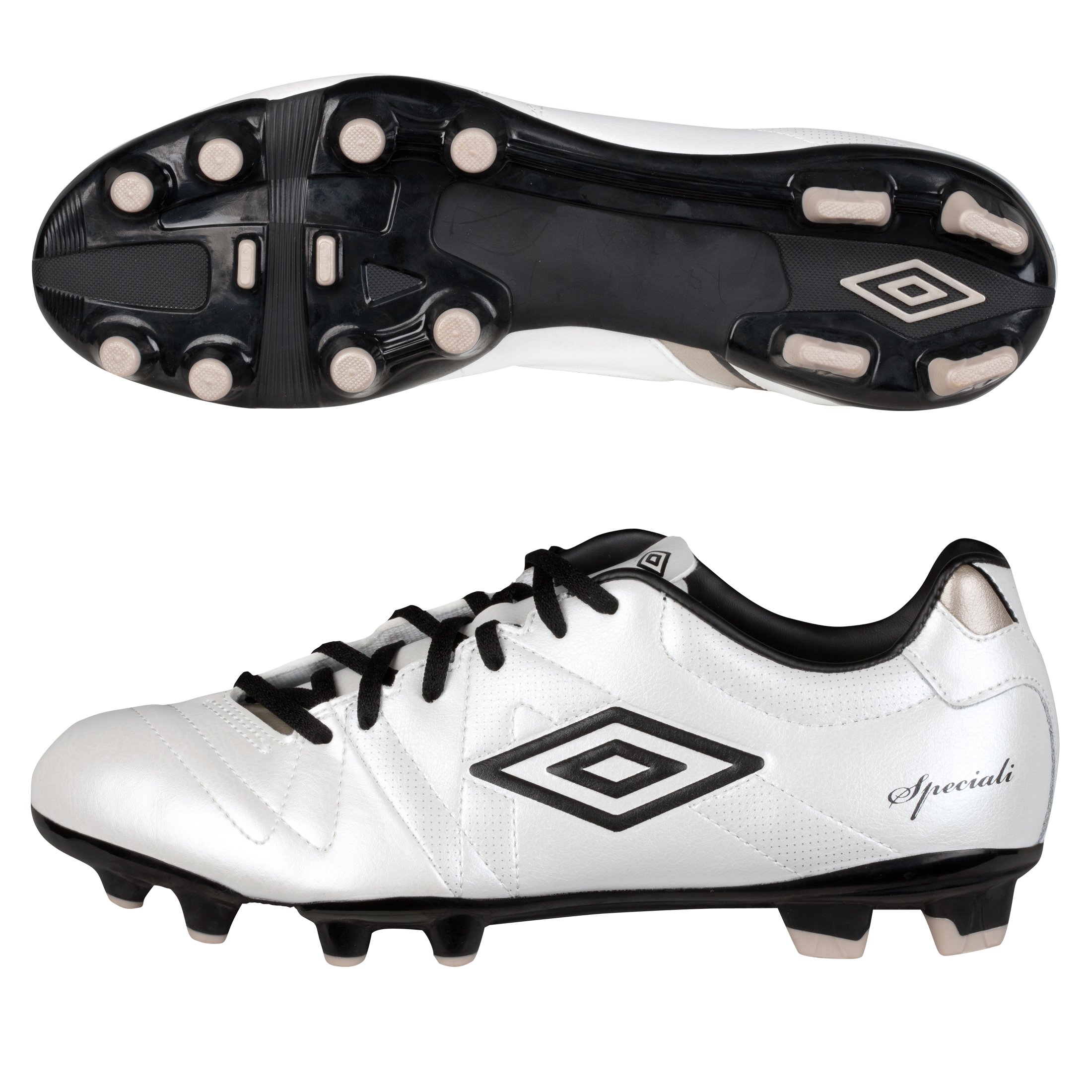 Umbro Speciali 3 Cup Hard Ground Football Boots - Pearlised White/Black/Pewter