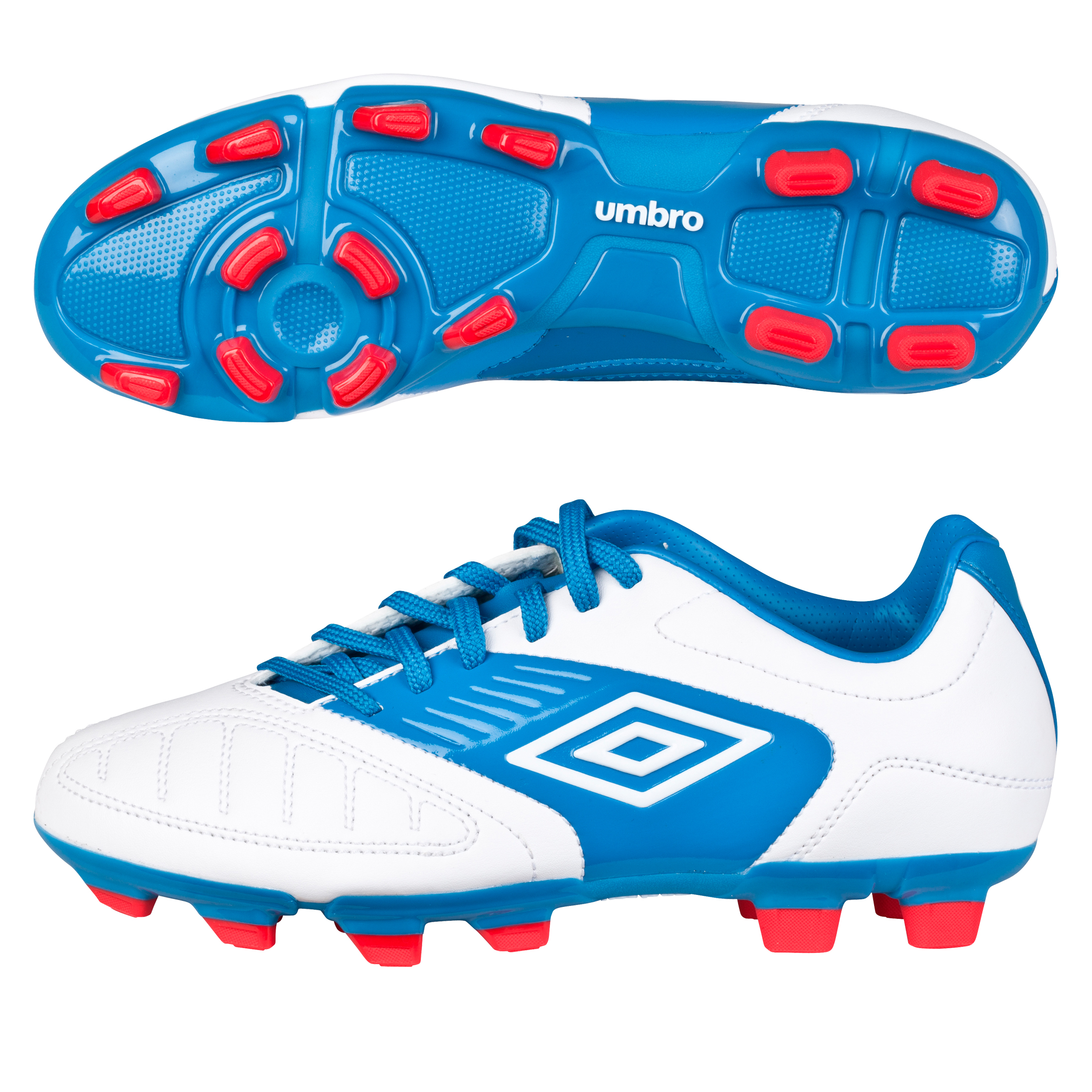 Geometra Cup FG Footbal Boots White Brilliant Blue/True Red Kids