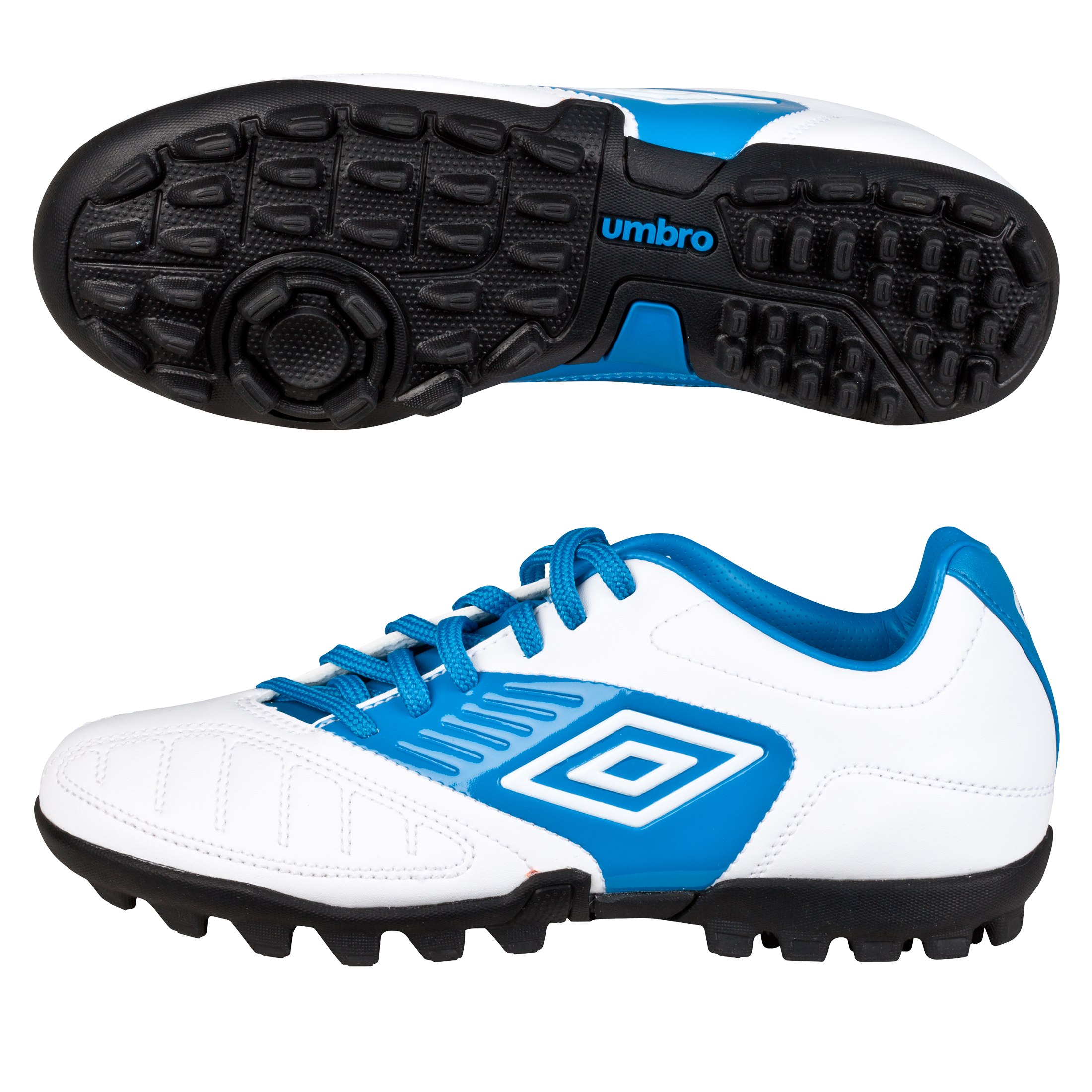 Umbro Geometra Cup Astro Turf Trainers - White/Brilliant Blue/True Red - Kids