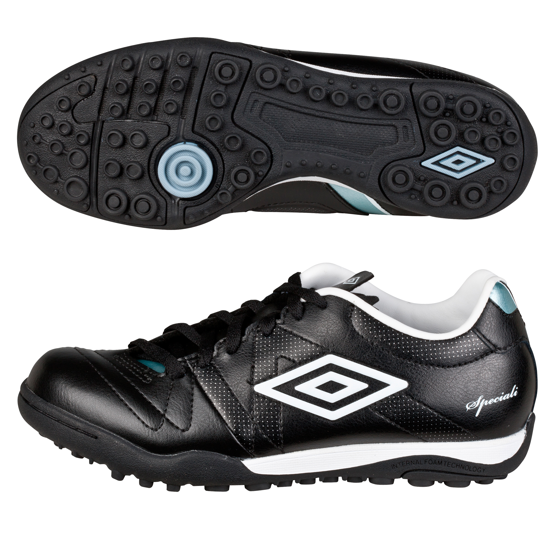 Umbro Speciali 3 Cup Astro Turf Trainers - Black/White/Chrome - Kids