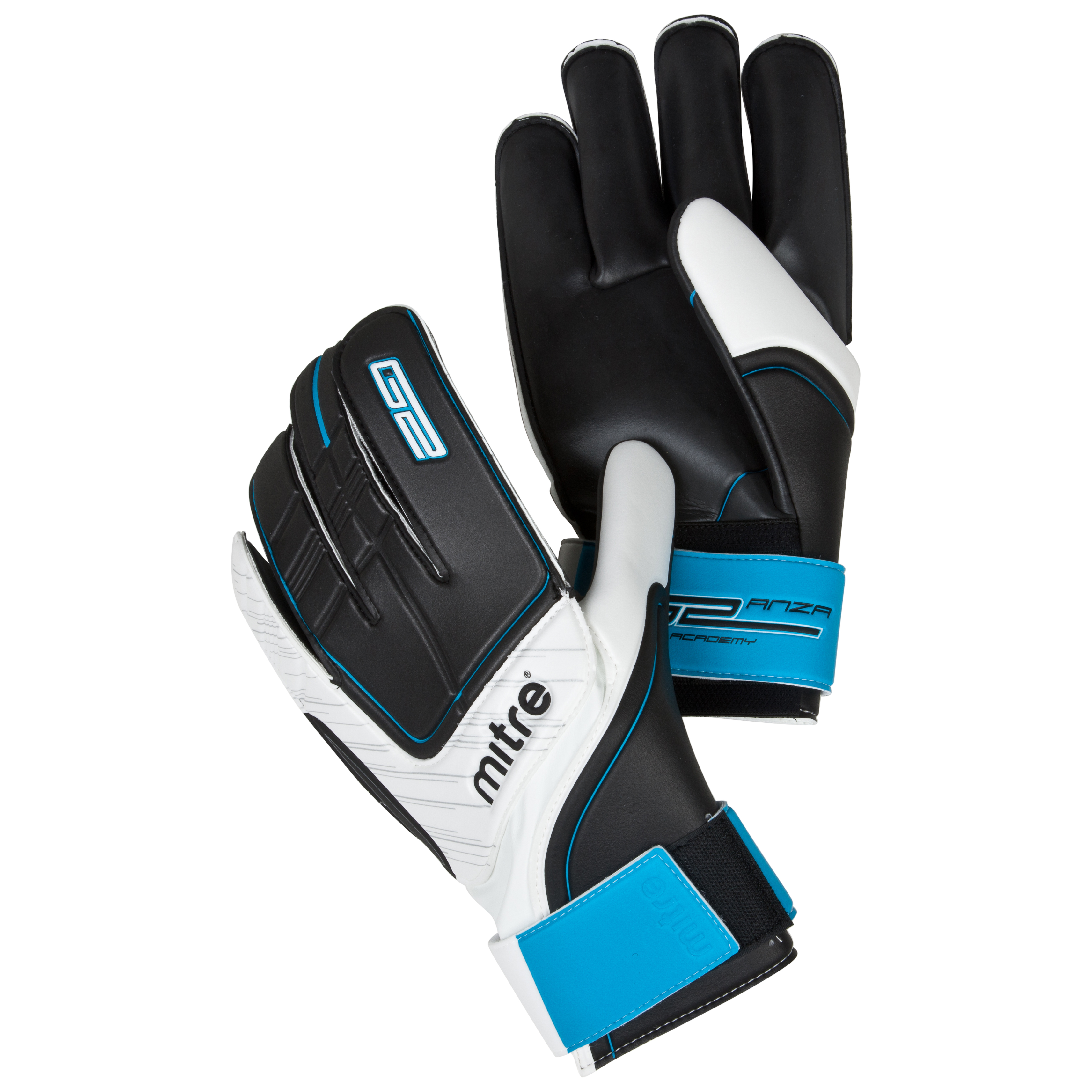 Mitre Anza G2 Academy Goalkeeper Gloves - Black/White/Cyan