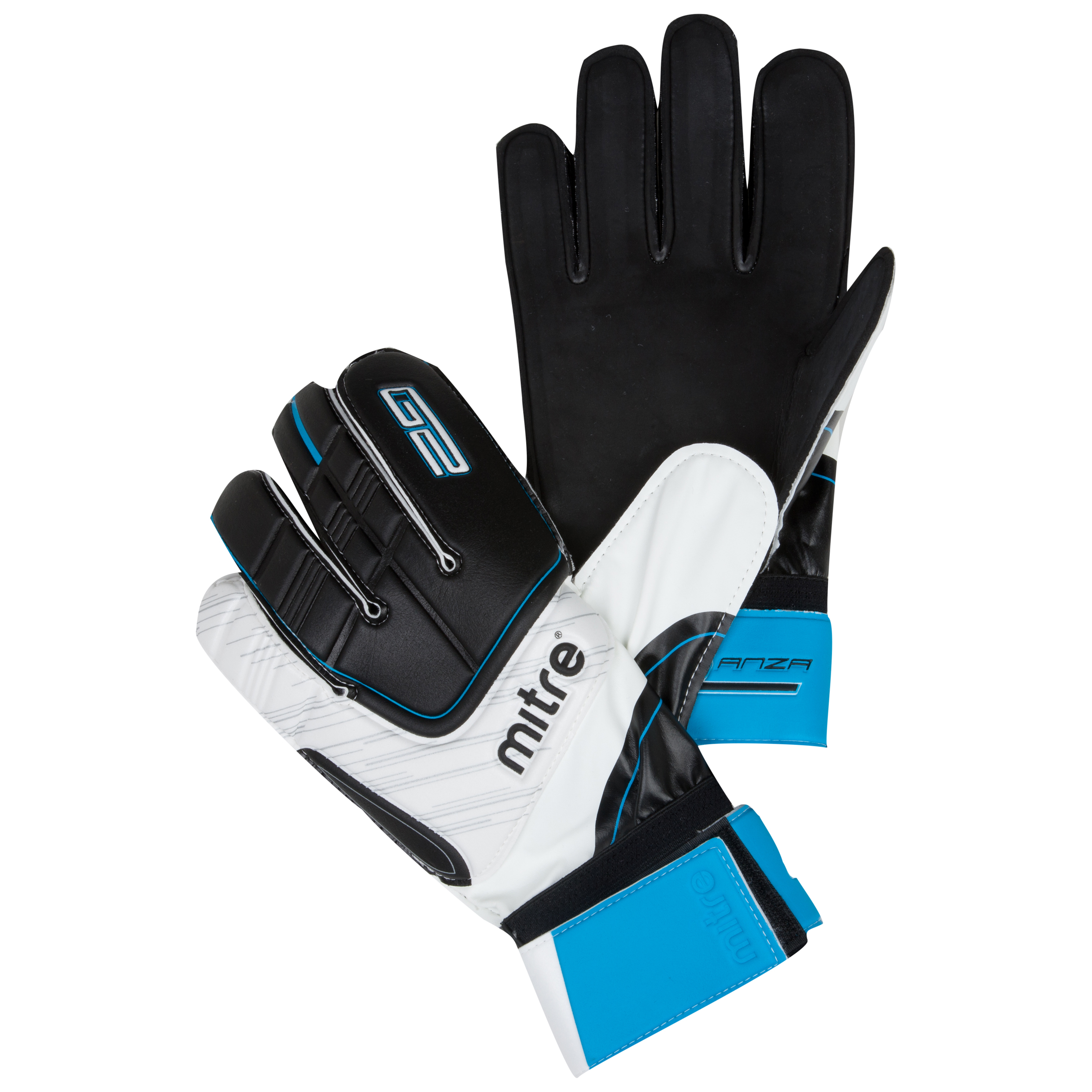 Mitre Anza G2 Flat Goalkeeper Gloves - Black/White/Cyan