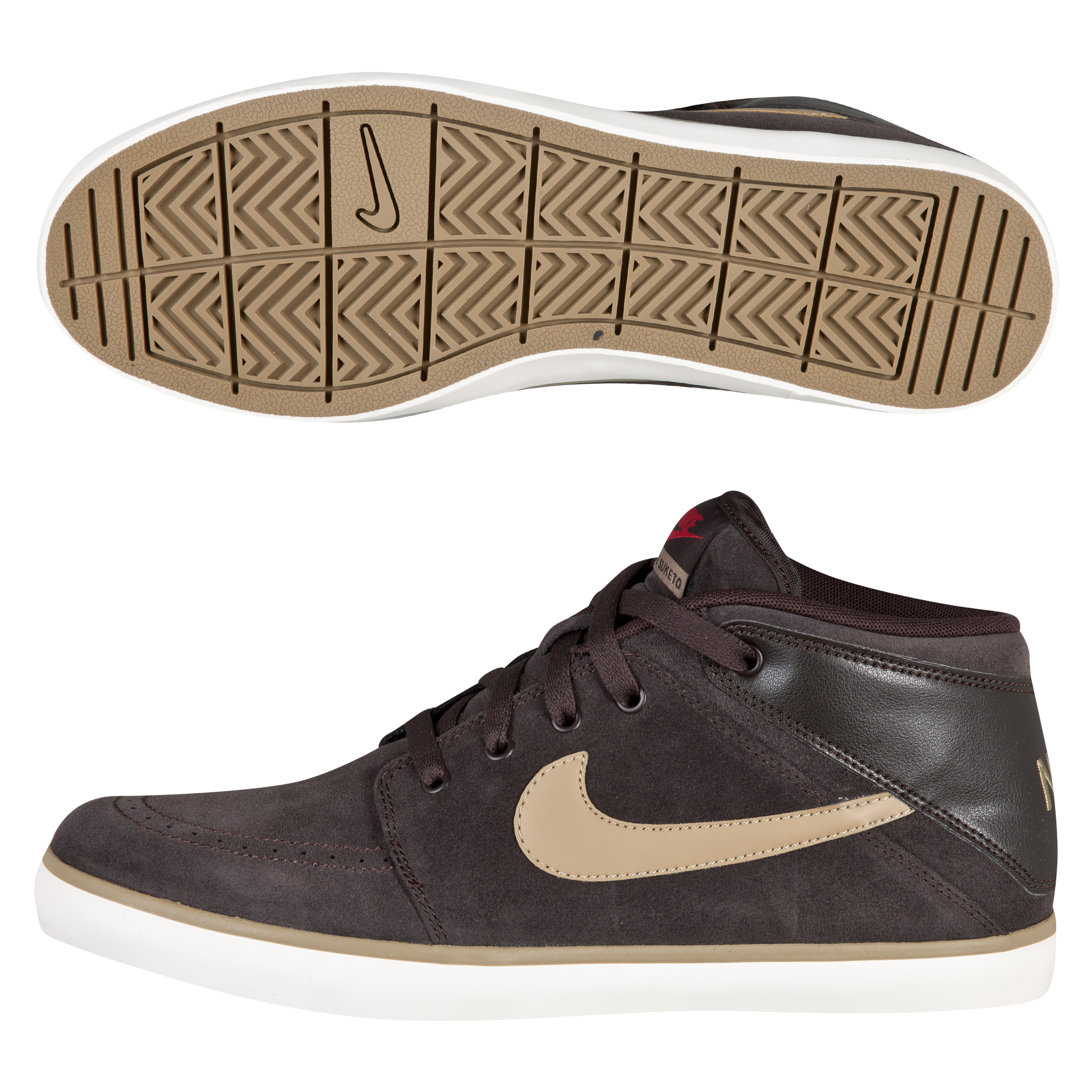 Nike Suketo Mid Leather Trainers - Black Tea/Filbert/Sail/Gym Red
