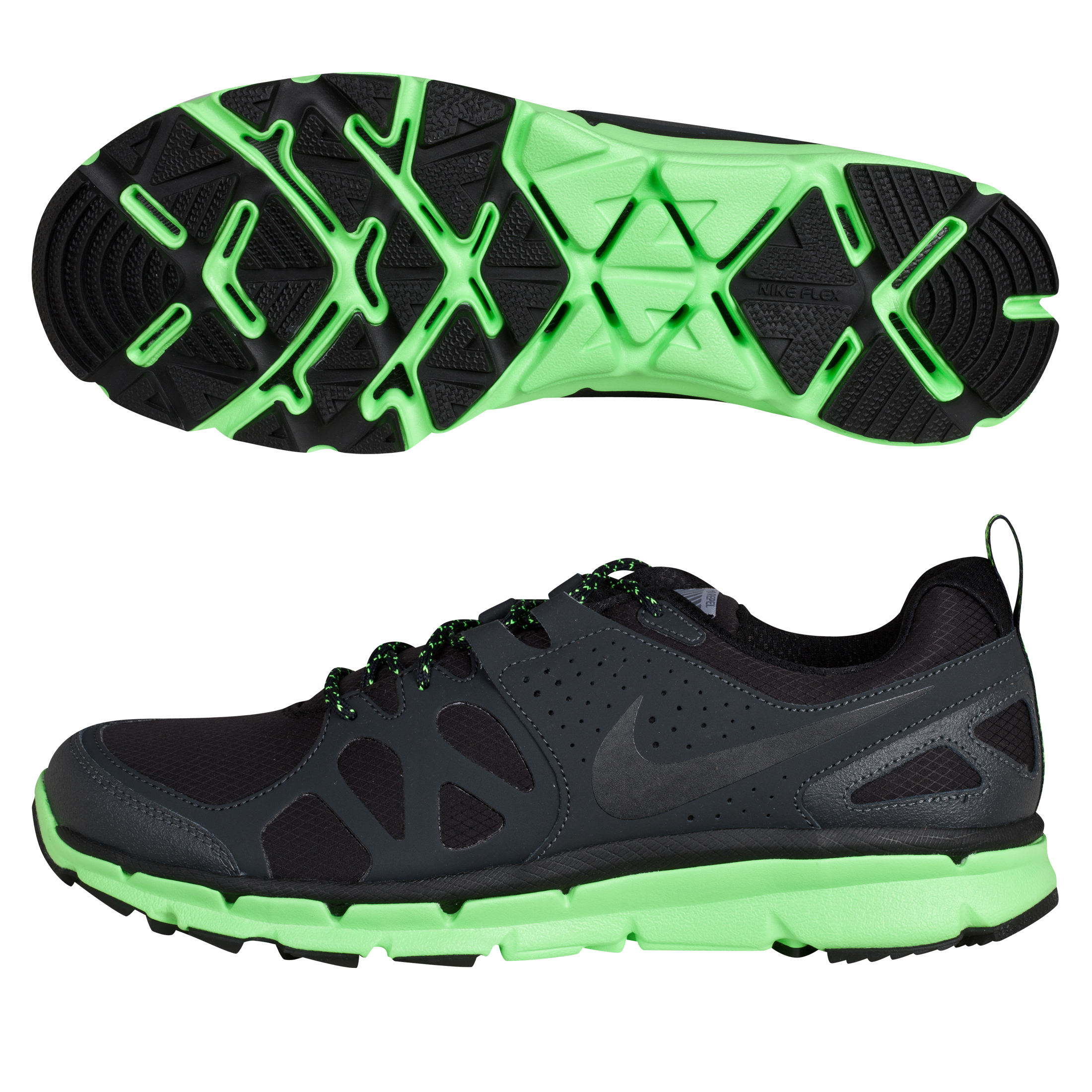 Nike Flex Trail Shield Trainers - Black/Anthracite/Electric Green