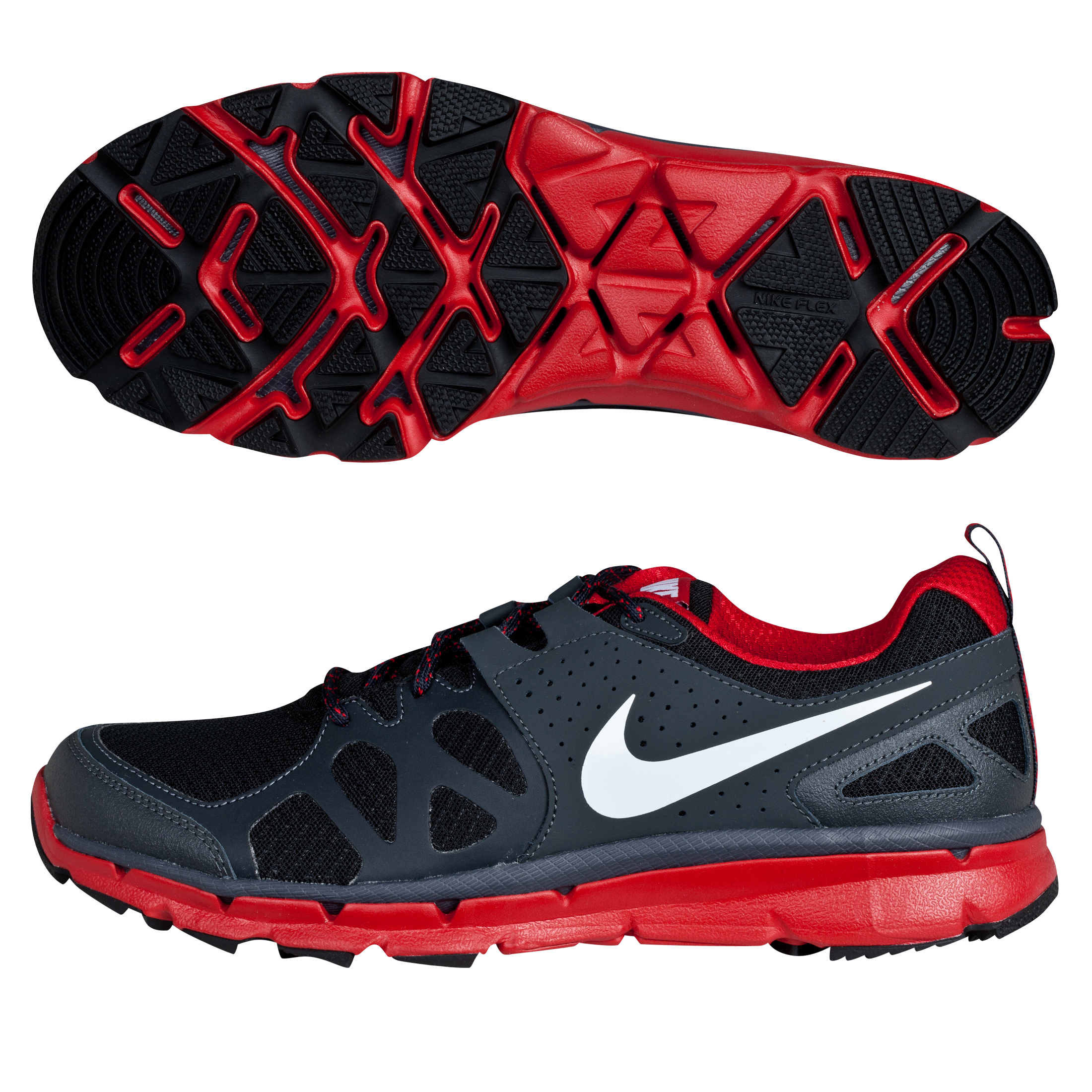 Nike Flex Trail Trainers - Black/Metallic Platinum/Gym Red/Anthracite