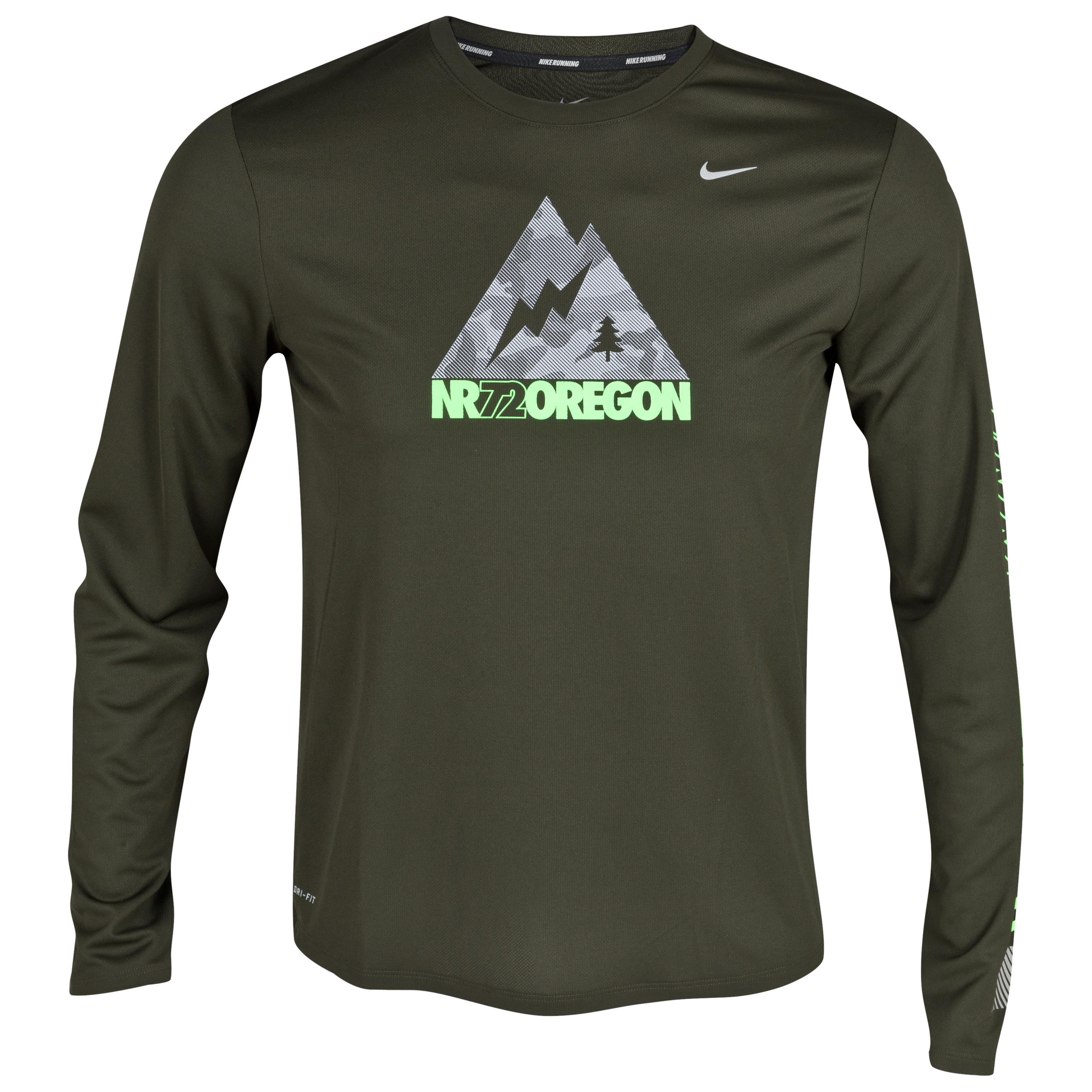 Nike Oregon T-Shirt - Sequoia/Reflective Silver - Long Sleeve