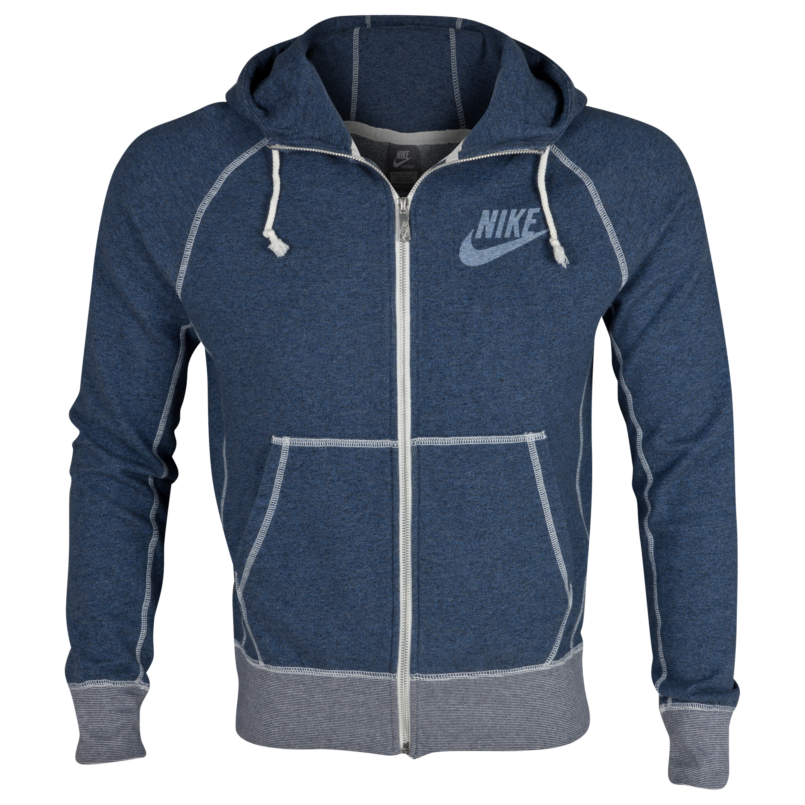 Nike AW77 Vintage Marl Logo FZ Hood - Monsoon Blue Heather/Sail