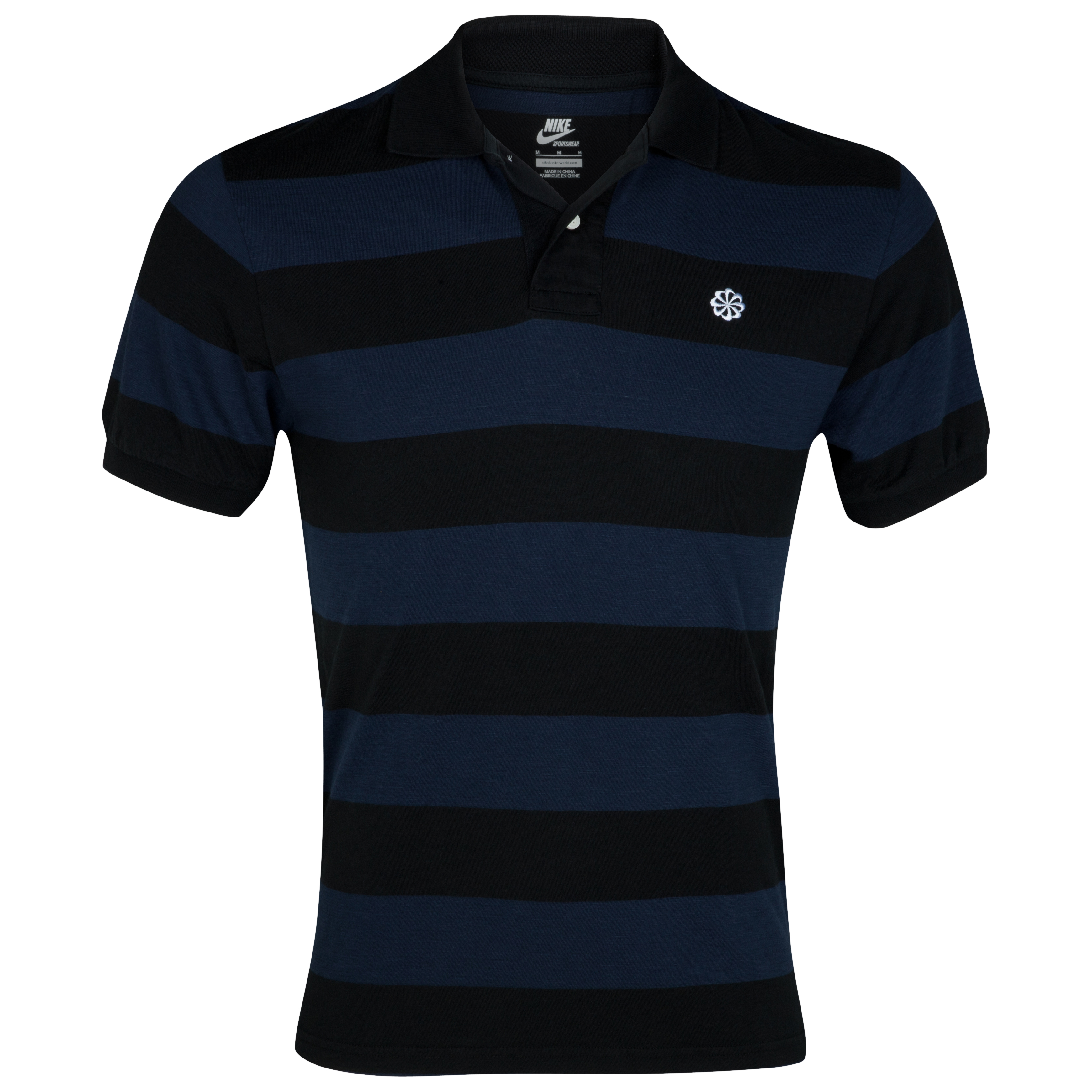 Nike GS Covert Stripe Polo - Obsidian/Black/White