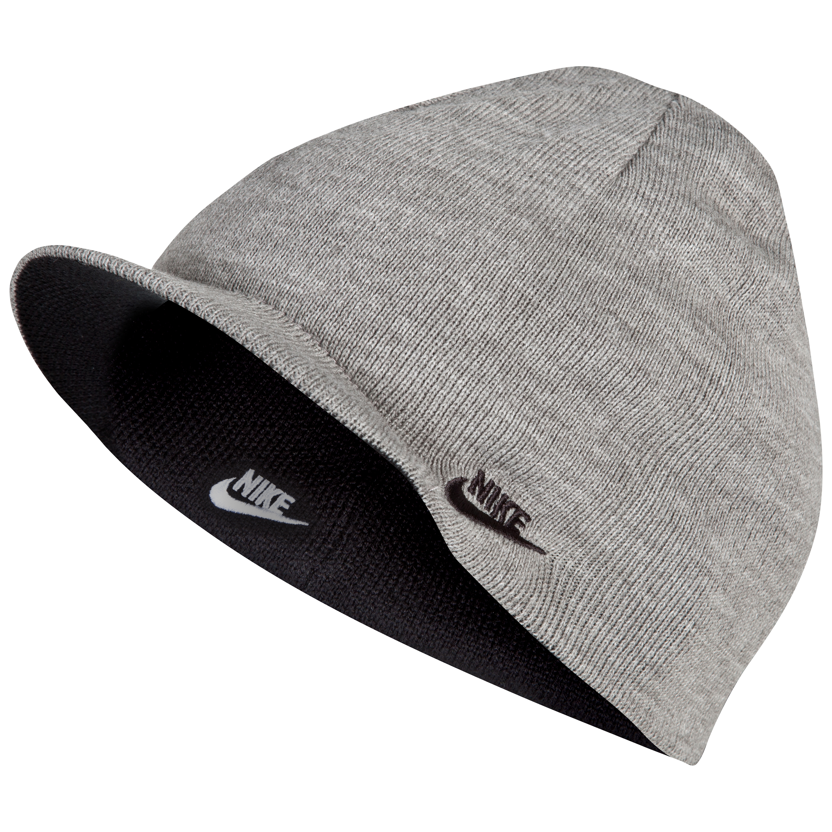 Nike Peaked Futura Beanie - Black/Dark Grey Heather/White