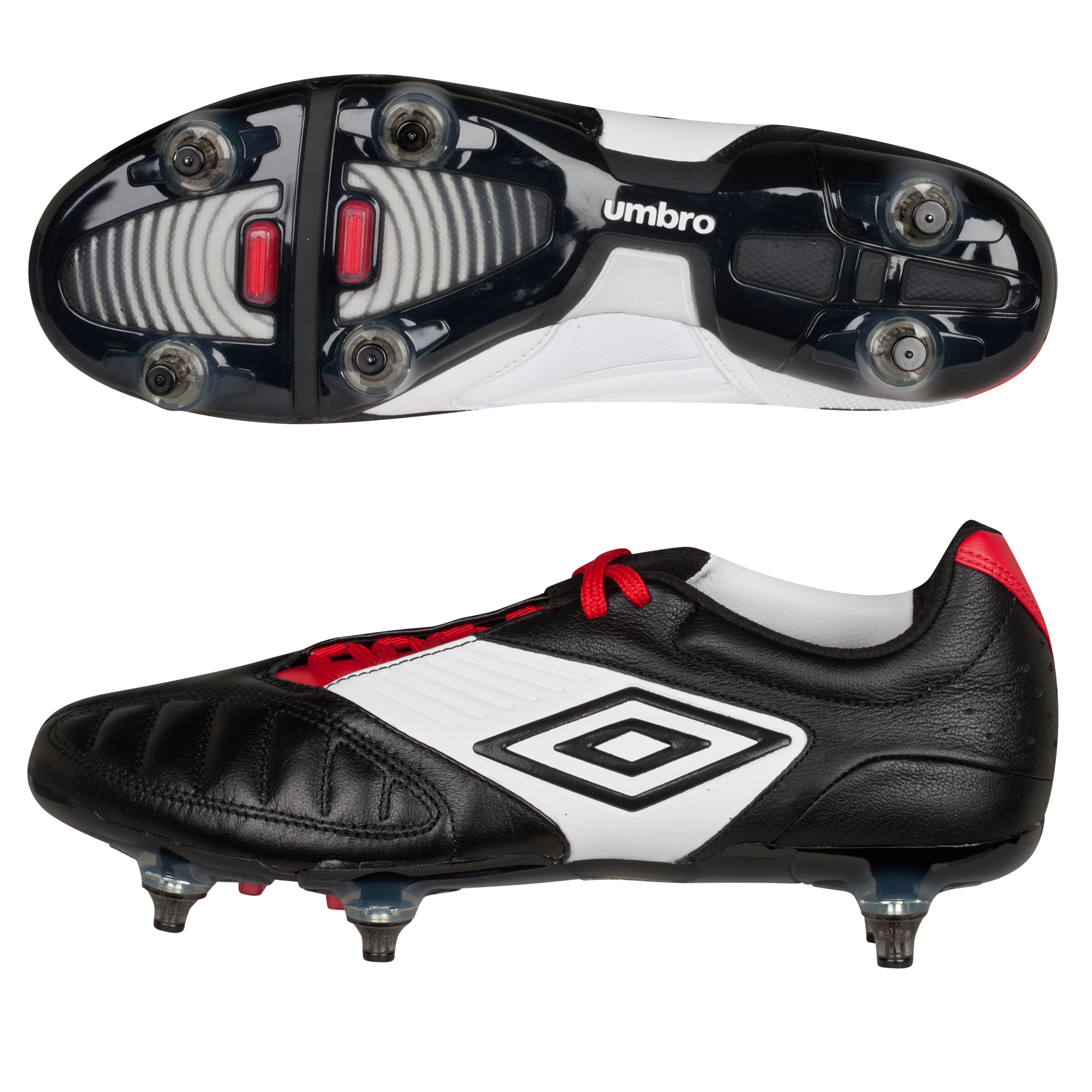 Umbro Geometra Pro Soft Ground Football Boots - Black/White/True Red