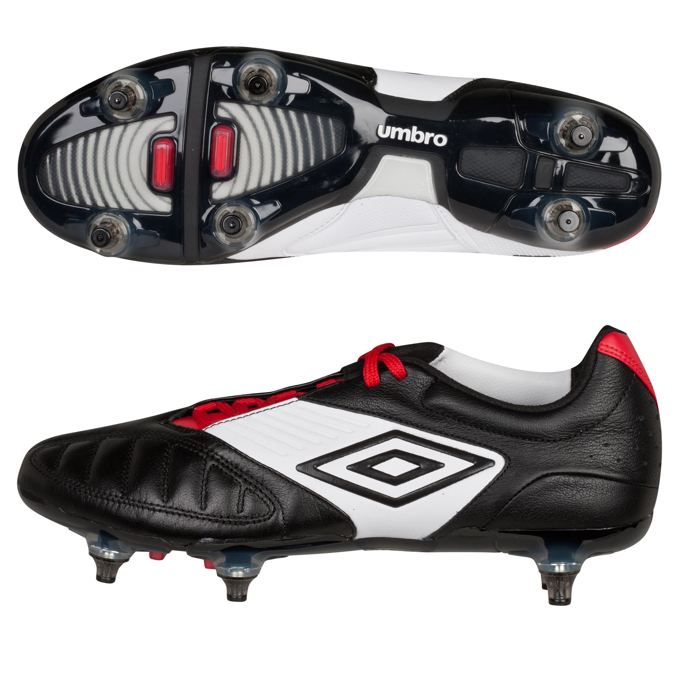 Umbro Geometra Pro Soft Ground Football Boots - Black/White/True Red