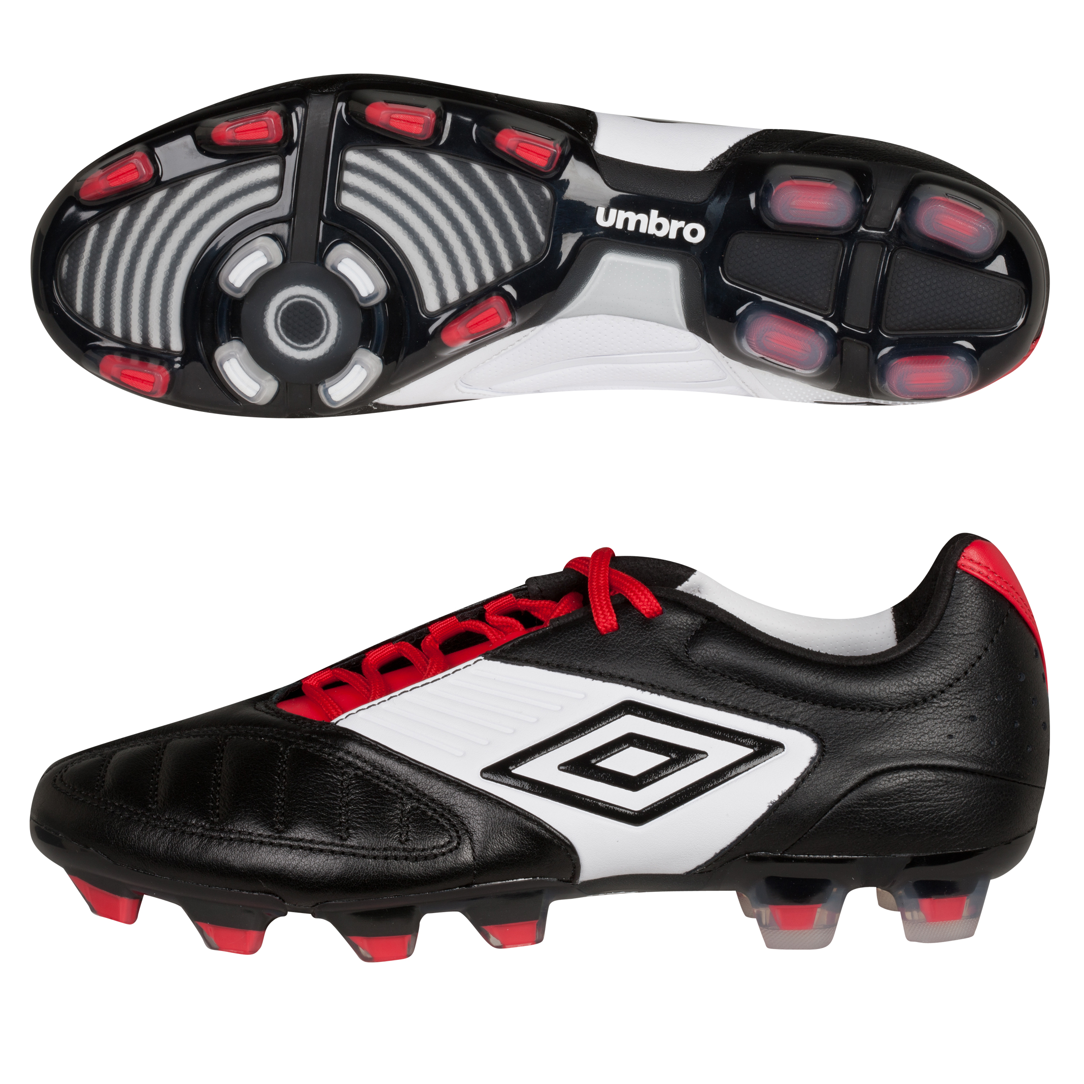 Umbro Geometra Pro Firm Ground Football Boots - Black/White/True Red