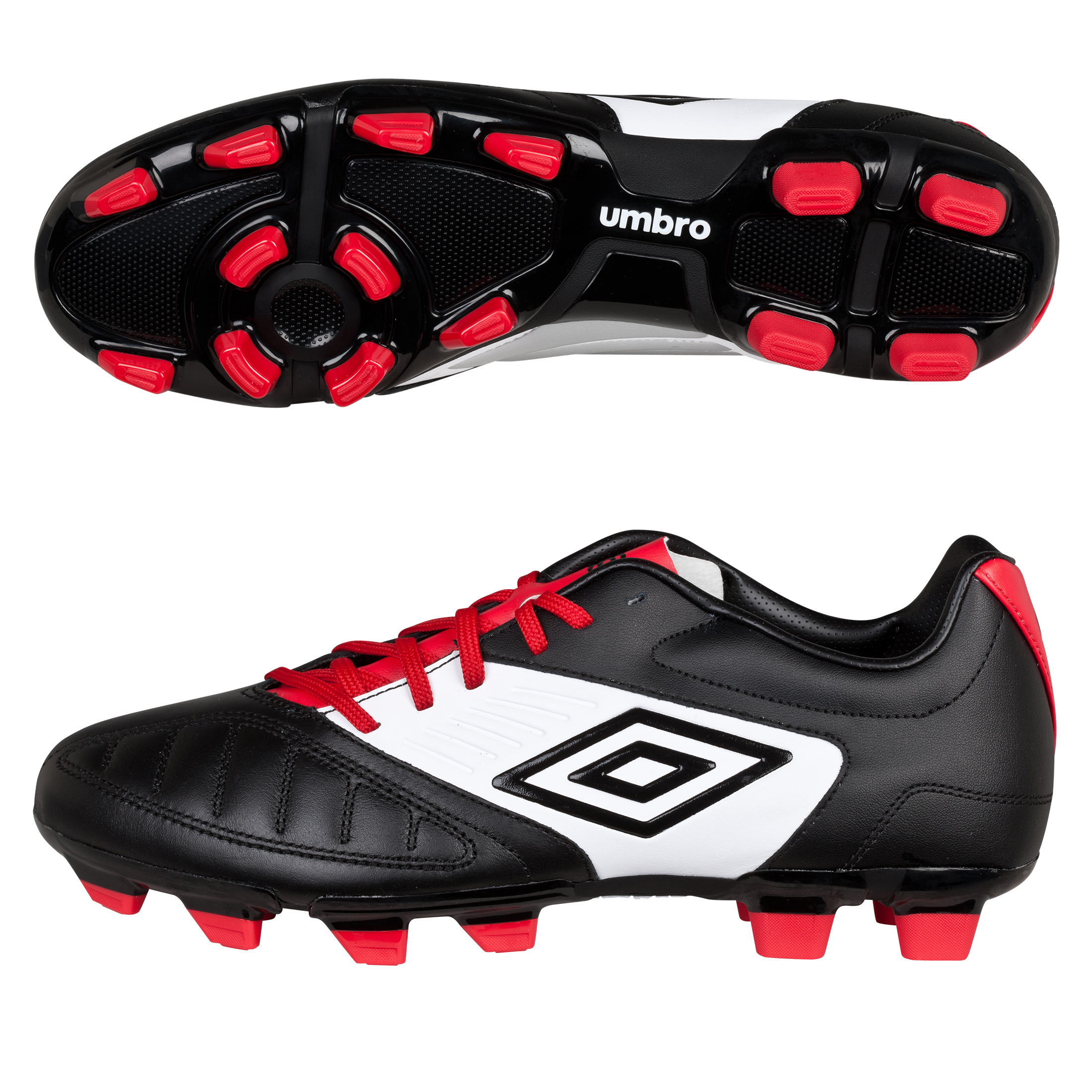 Umbro Geometra Premier Firm Ground Football Boots - Black/White/True Red