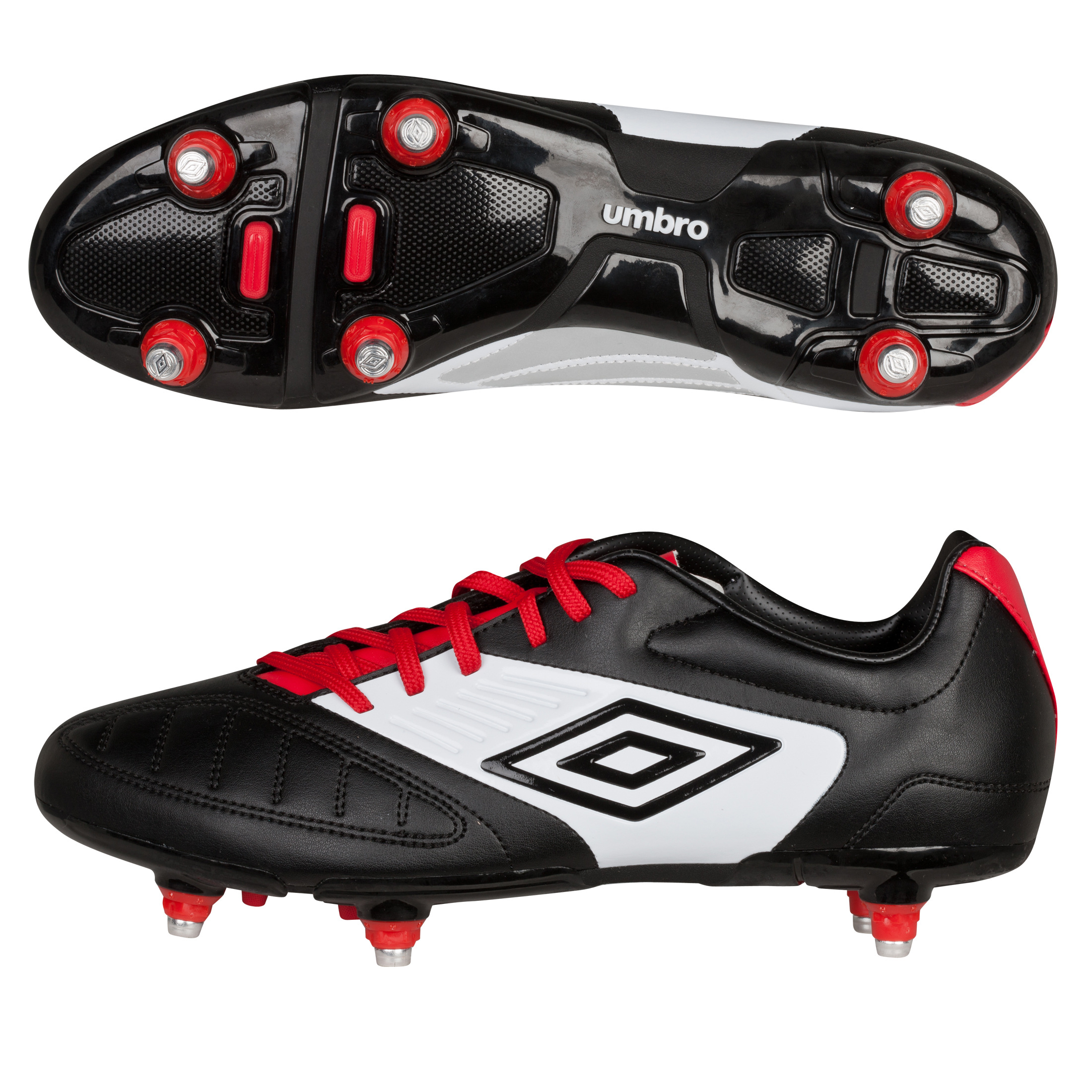 Umbro Geometra Cup Soft Ground Football Boots - Black/White/True Red