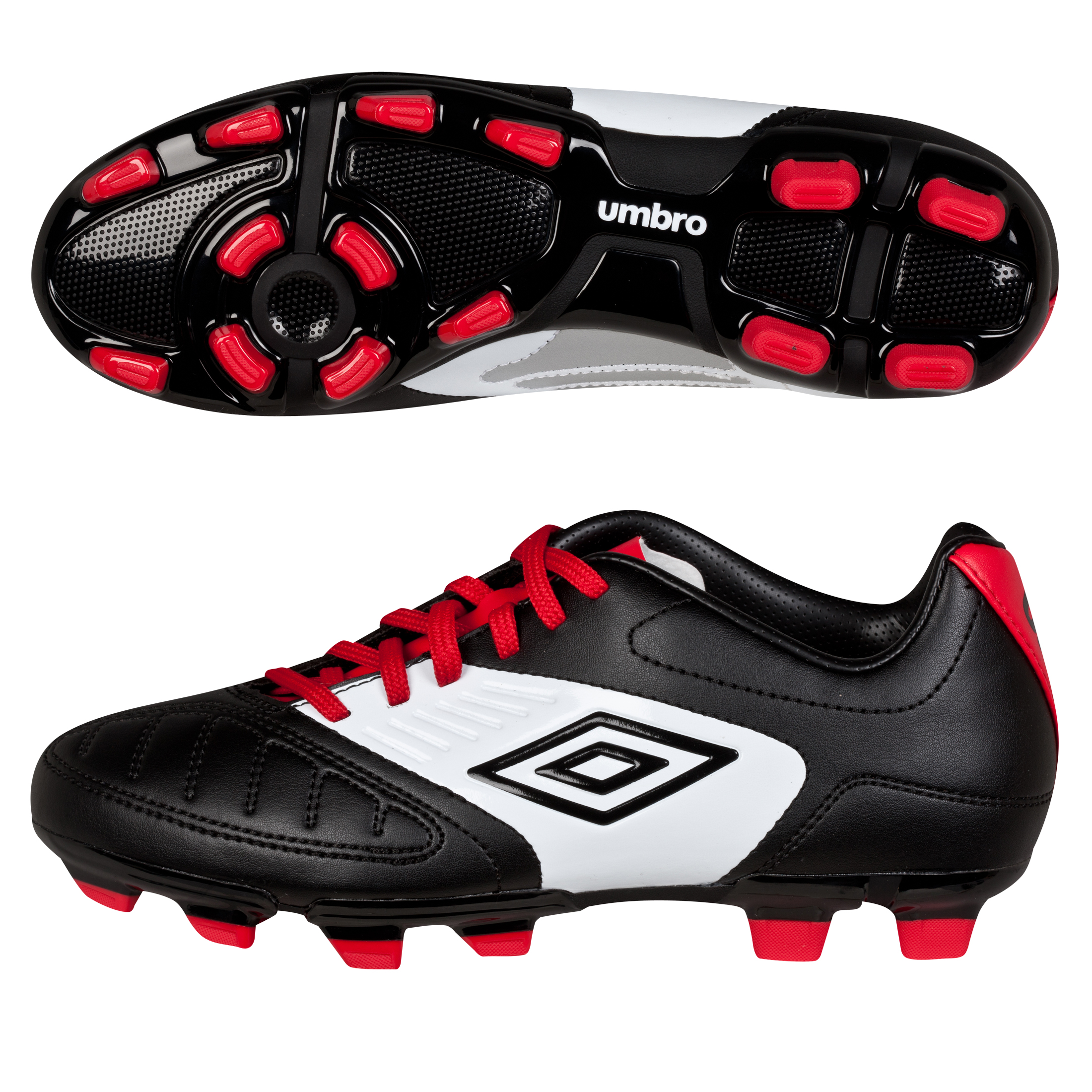 Umbro Geometra Cup Firm Ground Football Boots - Black/White/True Red - Kids