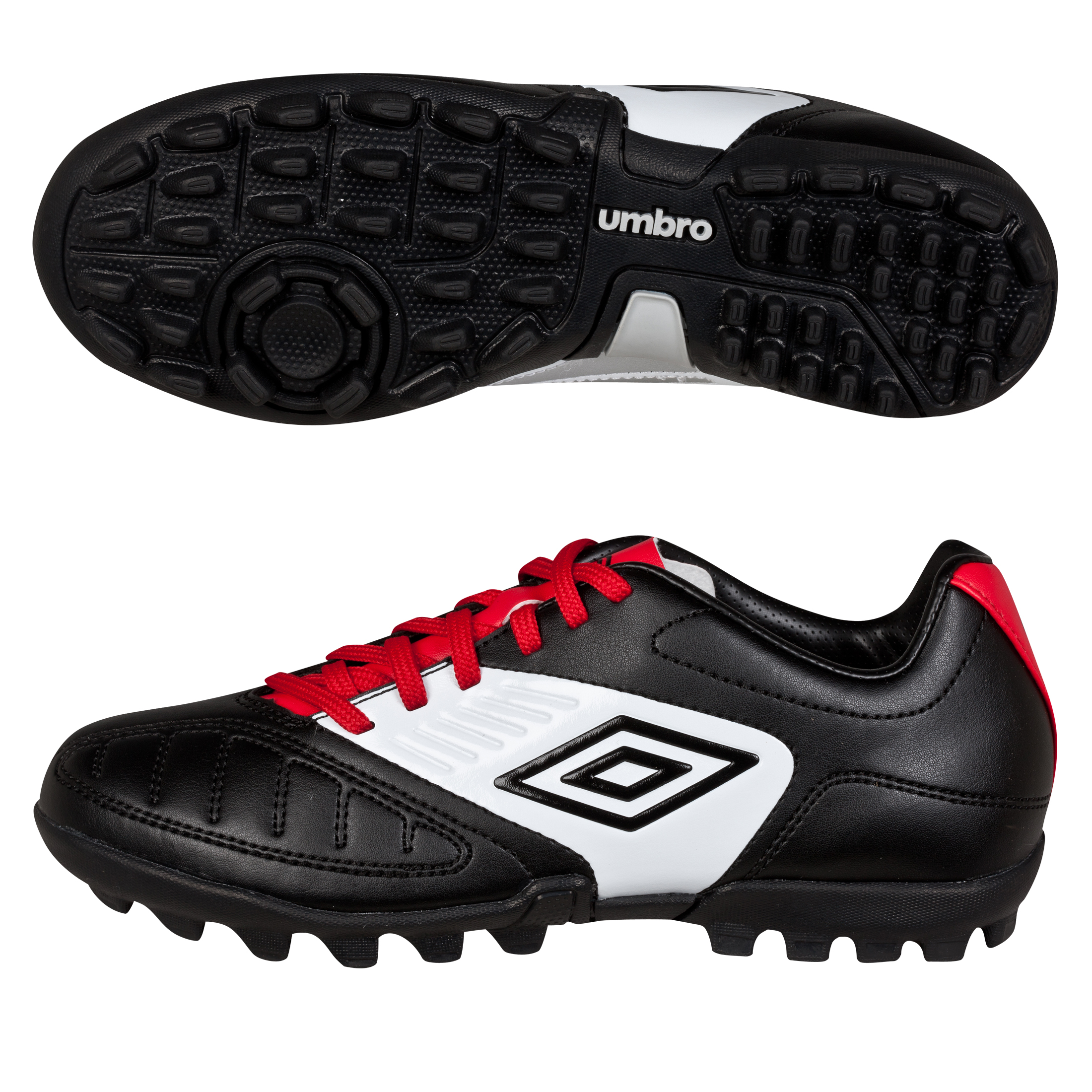 Umbro Geometra Cup Astroturf Trainers - Black/White/True Red - Kids