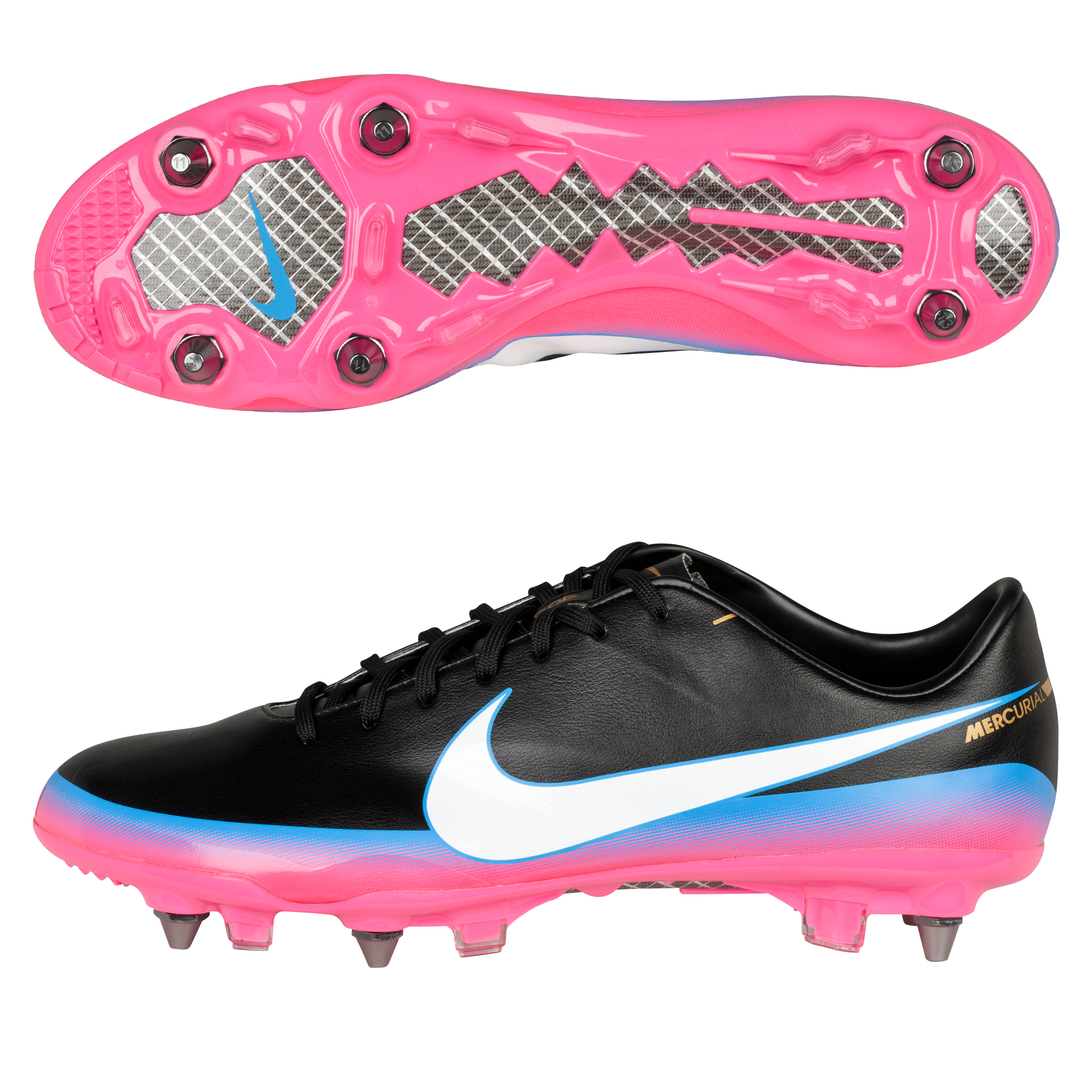 Nike Mercurial Vapor III CR7 Soft Ground Pro Football Boots - Black/White/Blue Glow/Pink Flash