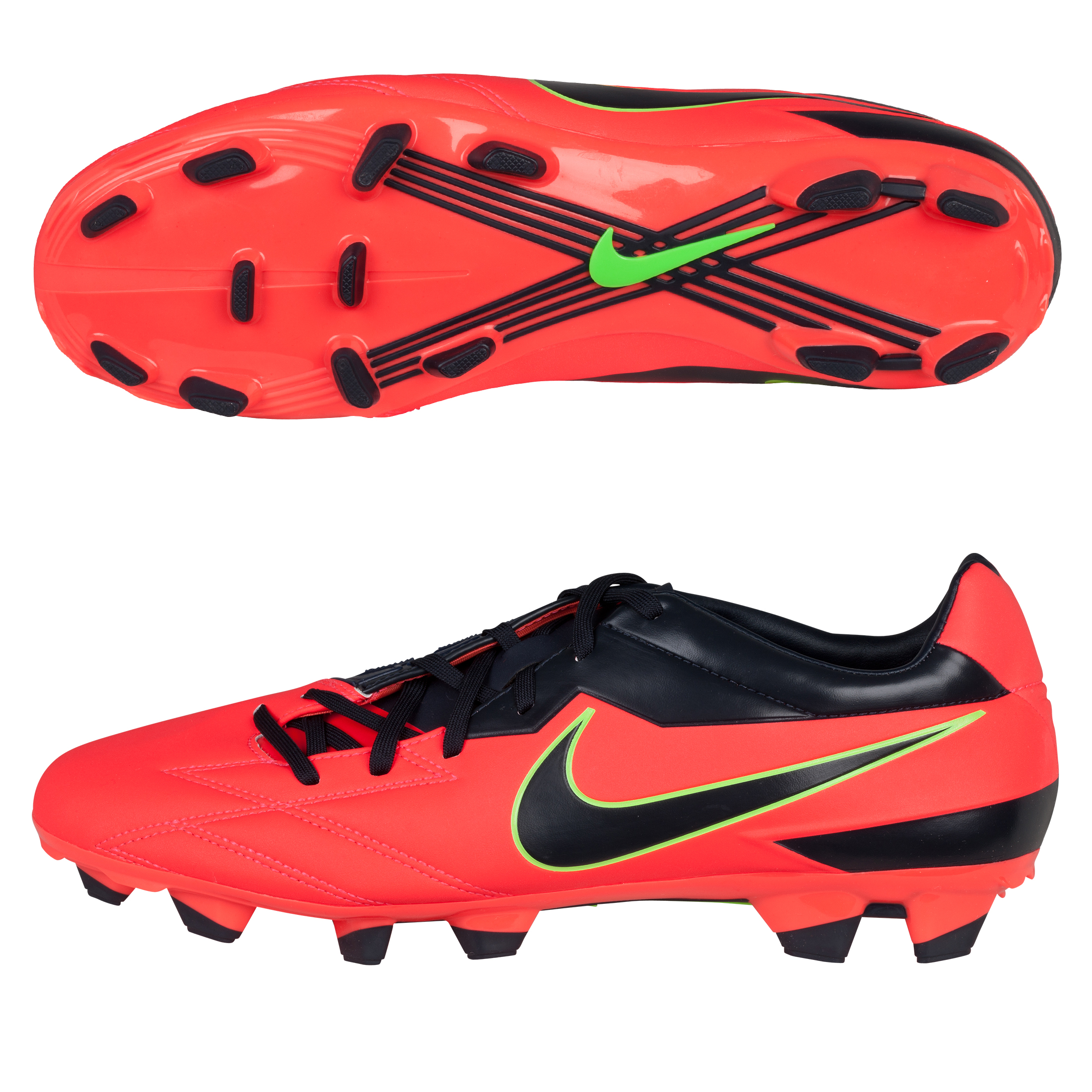 Nike T90 Strike IV Firm Ground Football Boots - Bright Crimson/Dark Obsidian/Electric Glow
