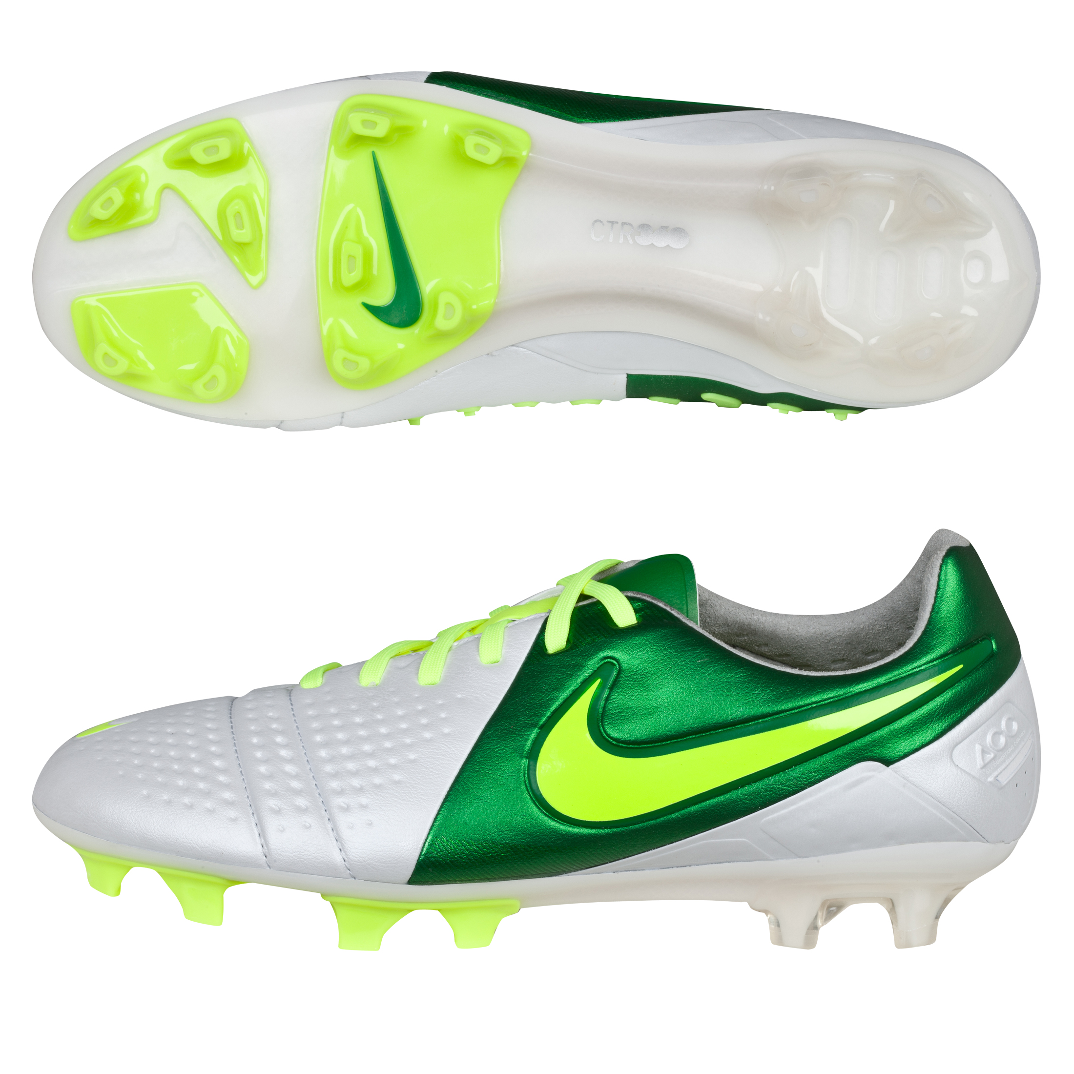 Nike CTR360 Maestri III Firm Ground Football Boots - White/Volt/Pine Green