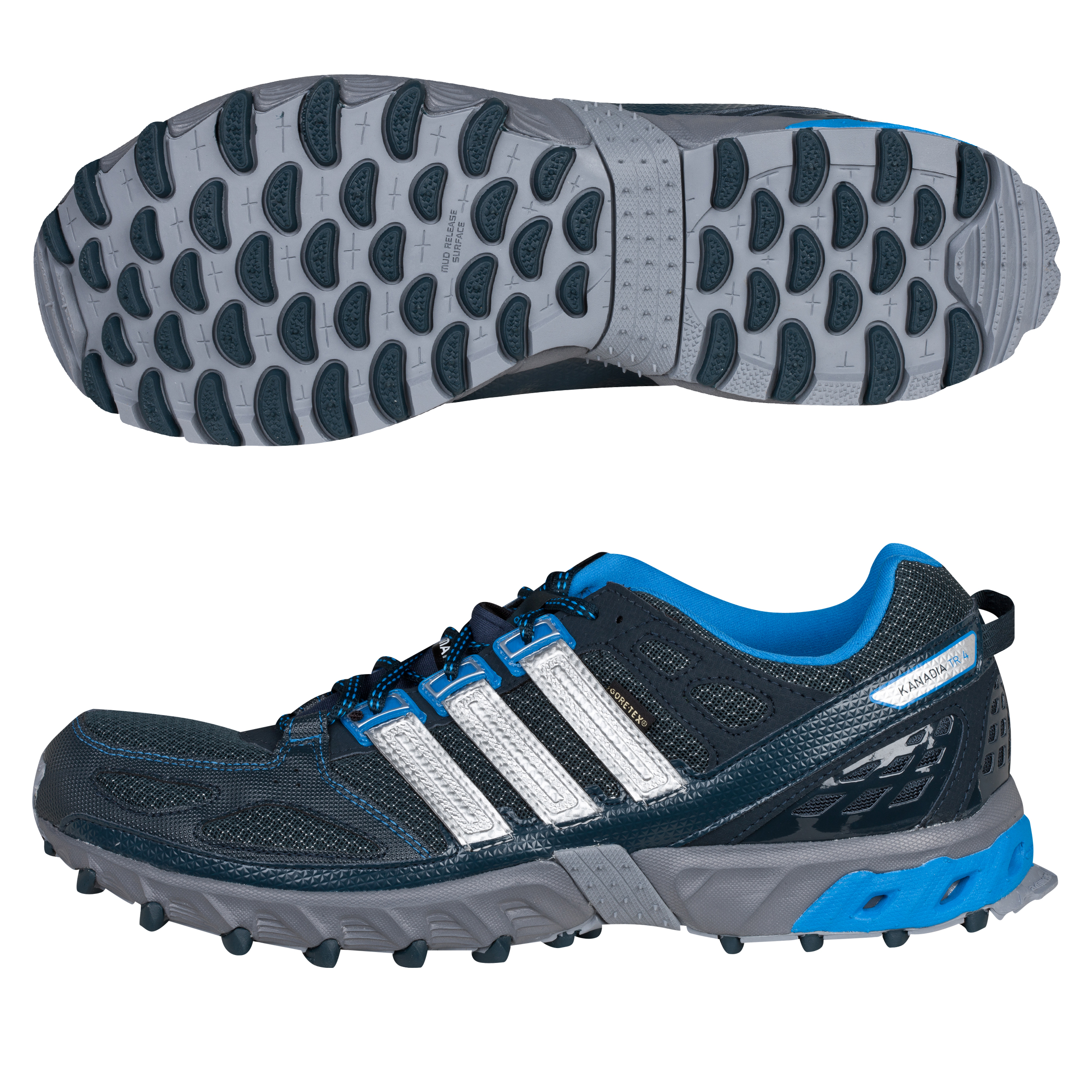 Running Kanadia 4 TR GTX Textile Trainers - Tech Onix/Infrared/Metallic Silver
