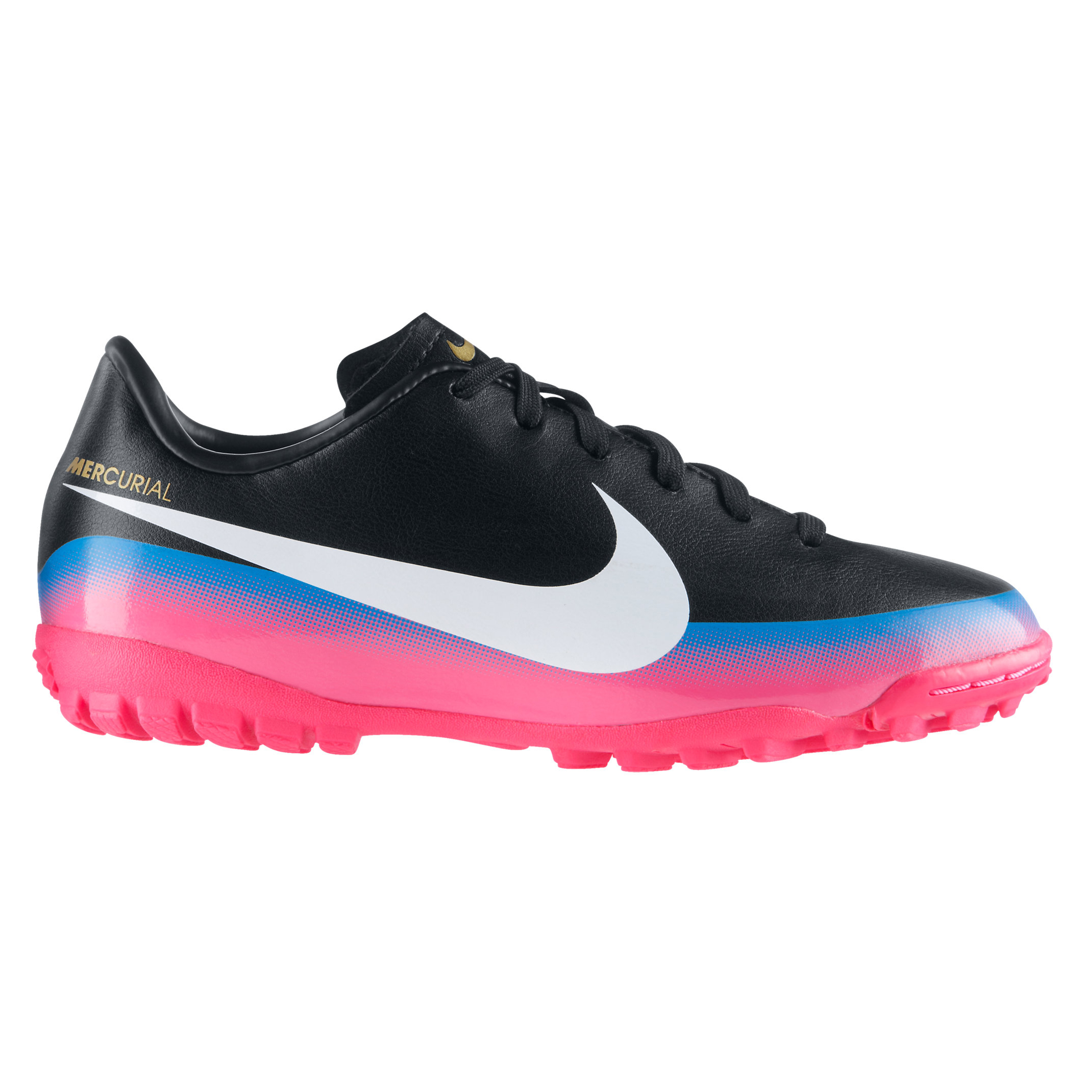 Nike Mercurial Victory III CR7 Astro Turf Trainers - Black/White/Blue Glow/Pink Flash - Kids