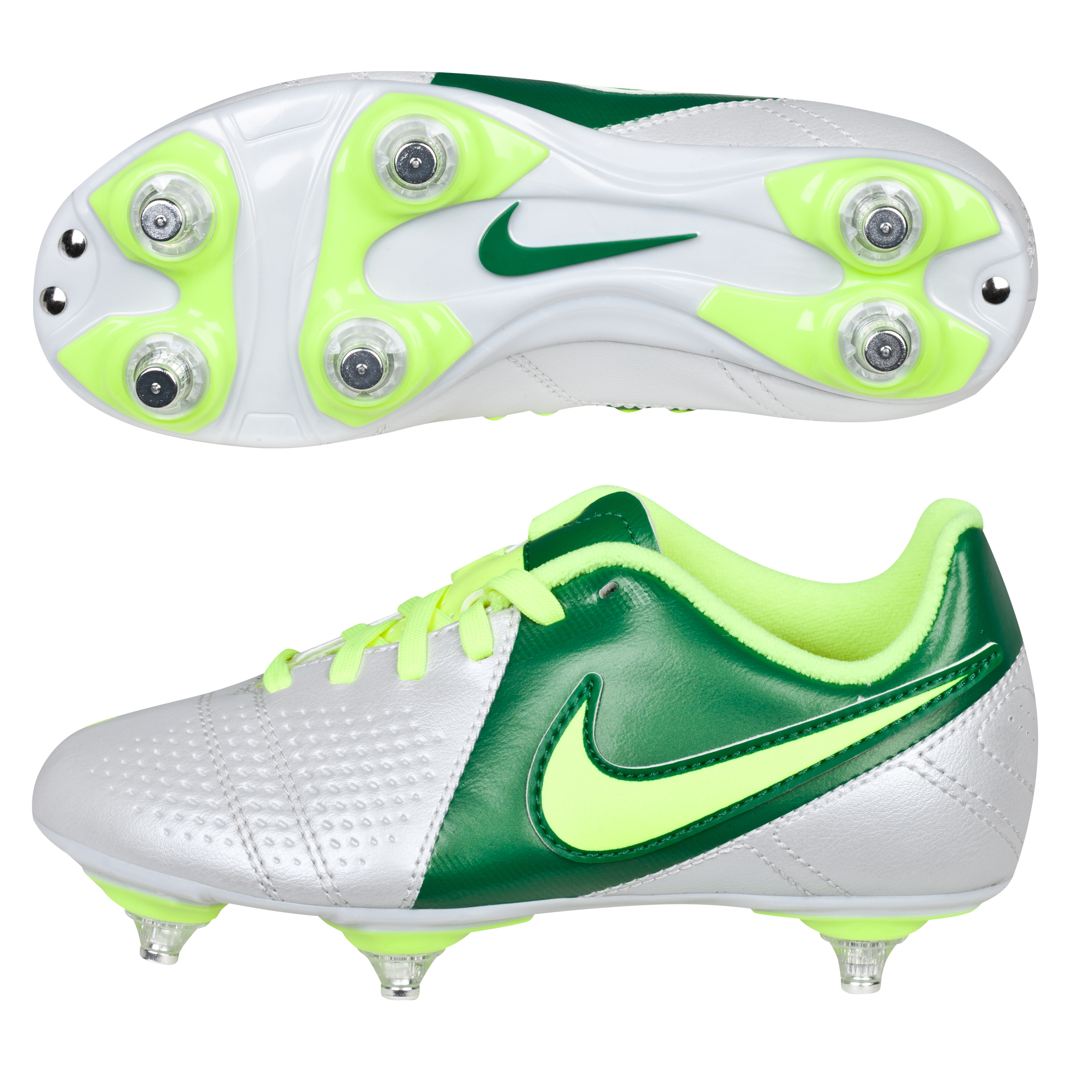 Nike CTR360 Libretto III Soft Ground Football Boots - White/Volt/Pine Green - Kids
