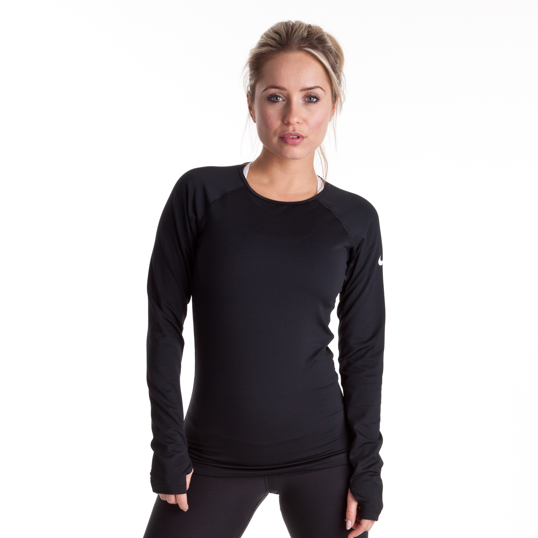 Nike Pro Hyperwarm Crew LS Top - Black/White - Womens