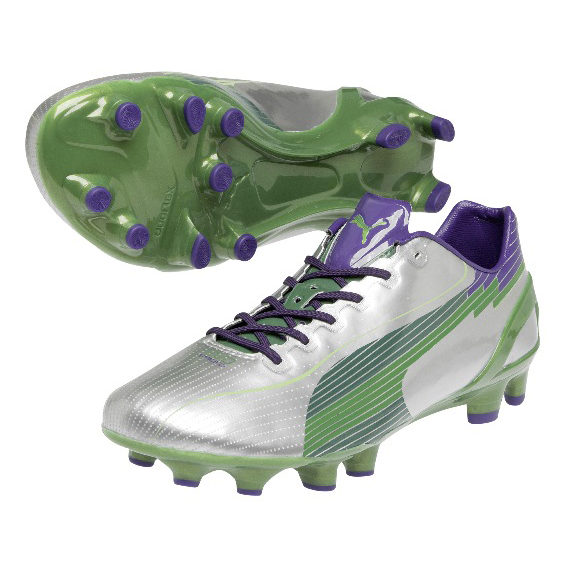 Puma evoSPEED 1 Firm Ground Football Boots - Silver/Team Green/Team Violet