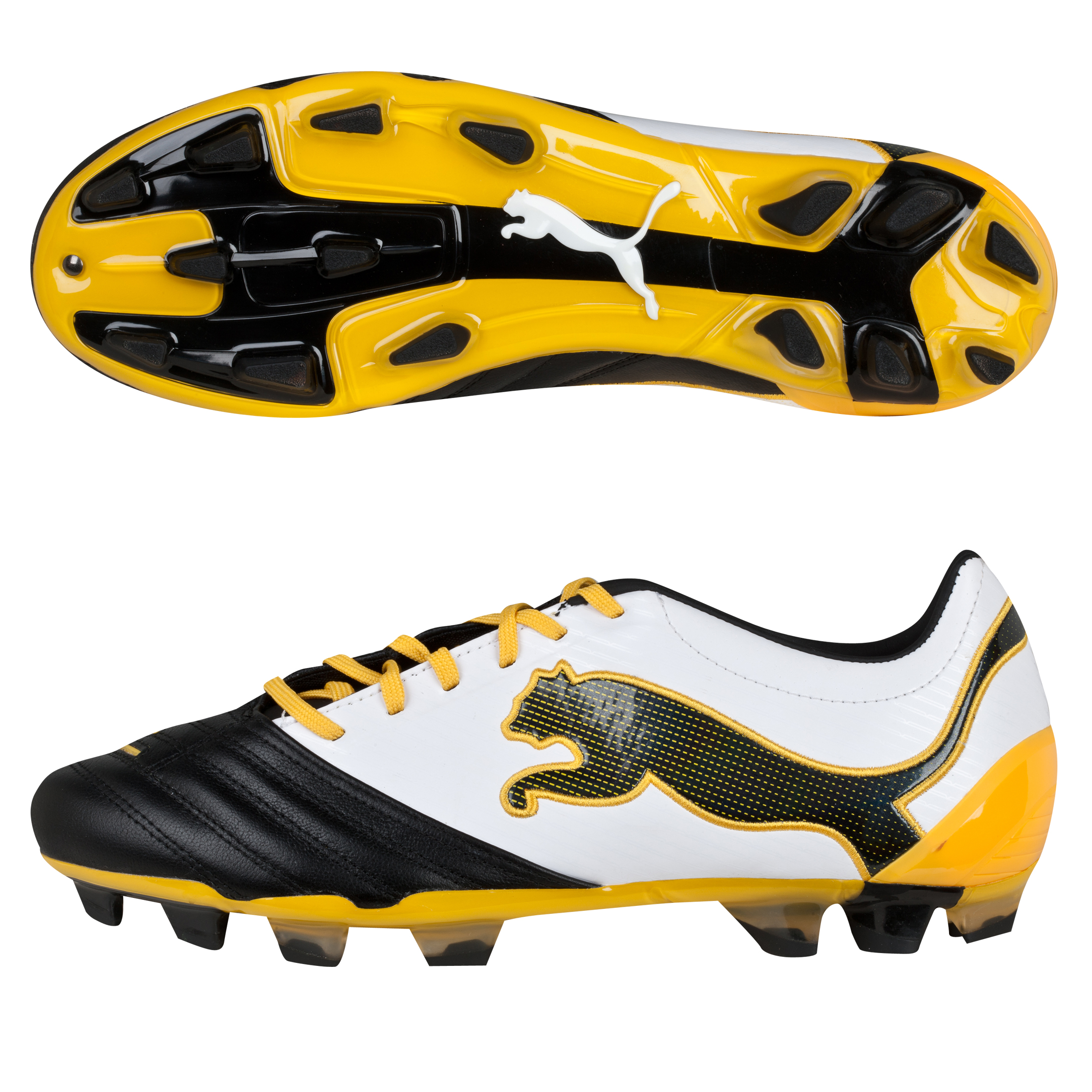 Puma PowerCat 2.12 Firm Ground Football Boots - Black/White/Team Yellow