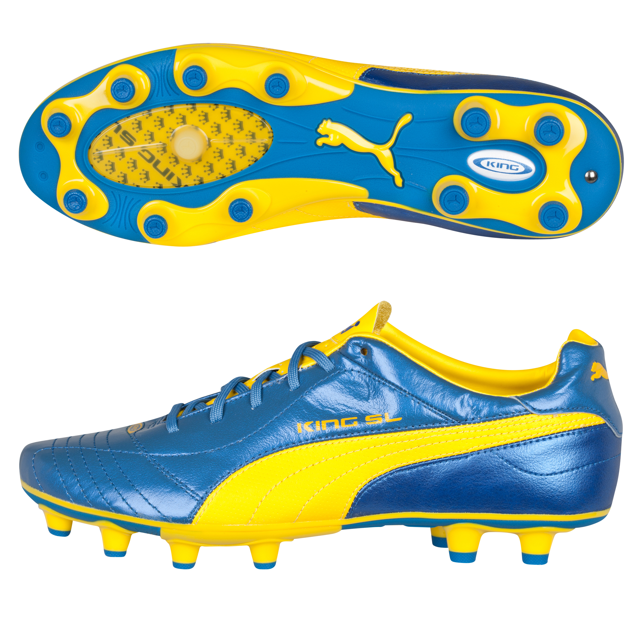 Puma King Finale SL i Firm Ground Football Boots - Blue Metallic/Dandelion/White