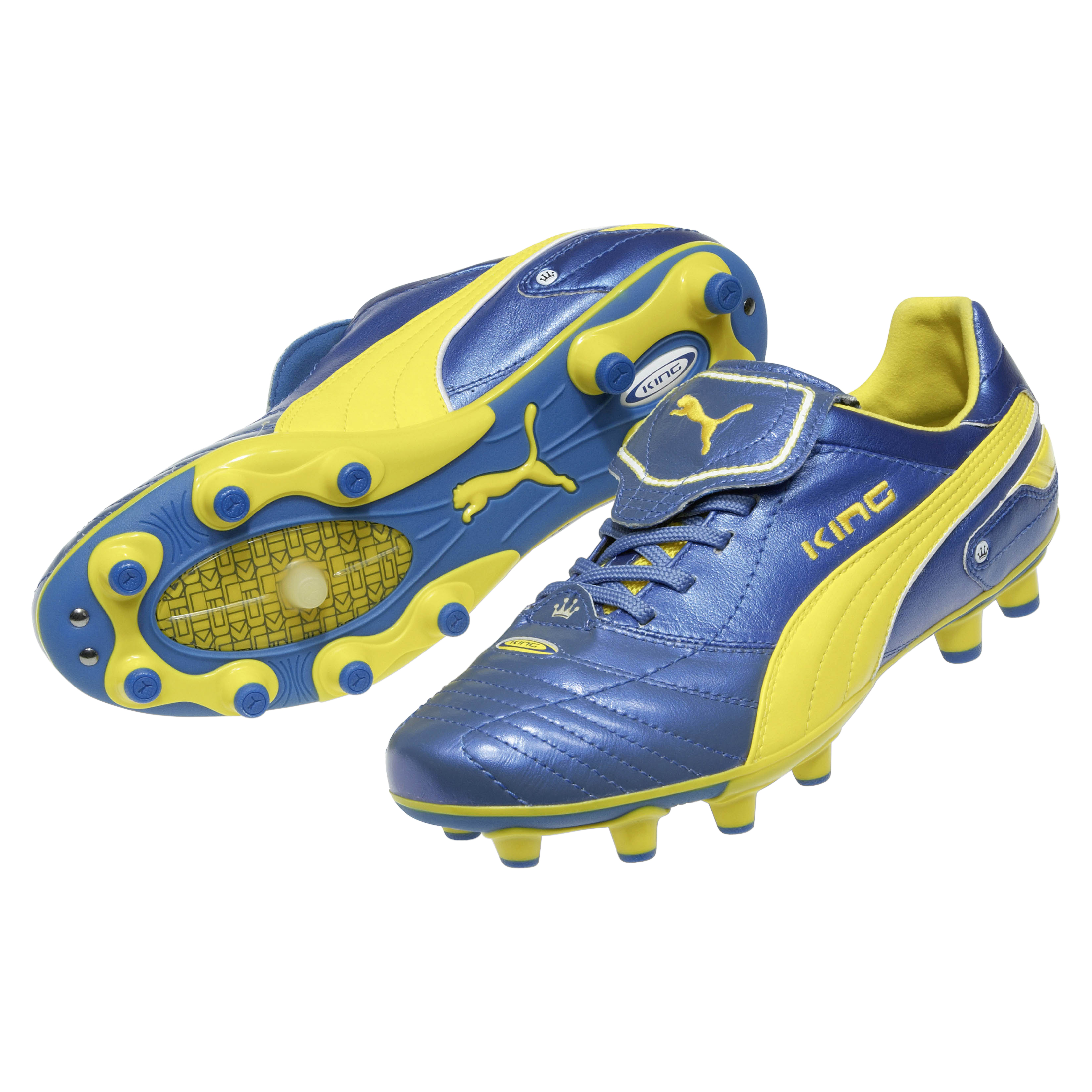 Puma King Finale i Firm Ground Football Boots - Blue Metallic/Dandelion/White