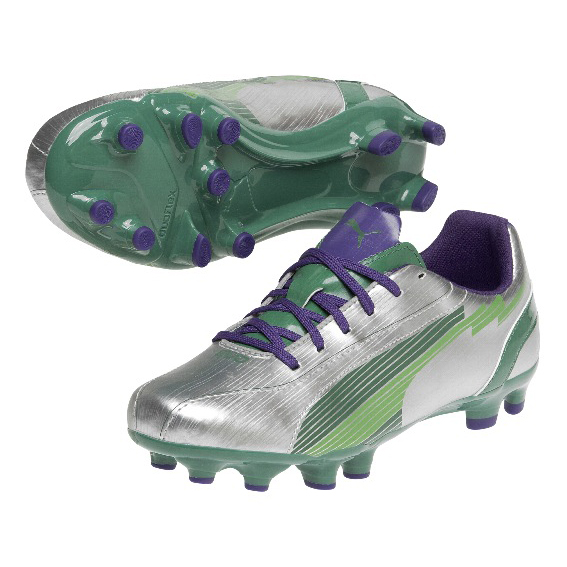 Puma evoSPEED 5 Firm Ground Football Boots - Silver/Team Green/Team Violet - Kids