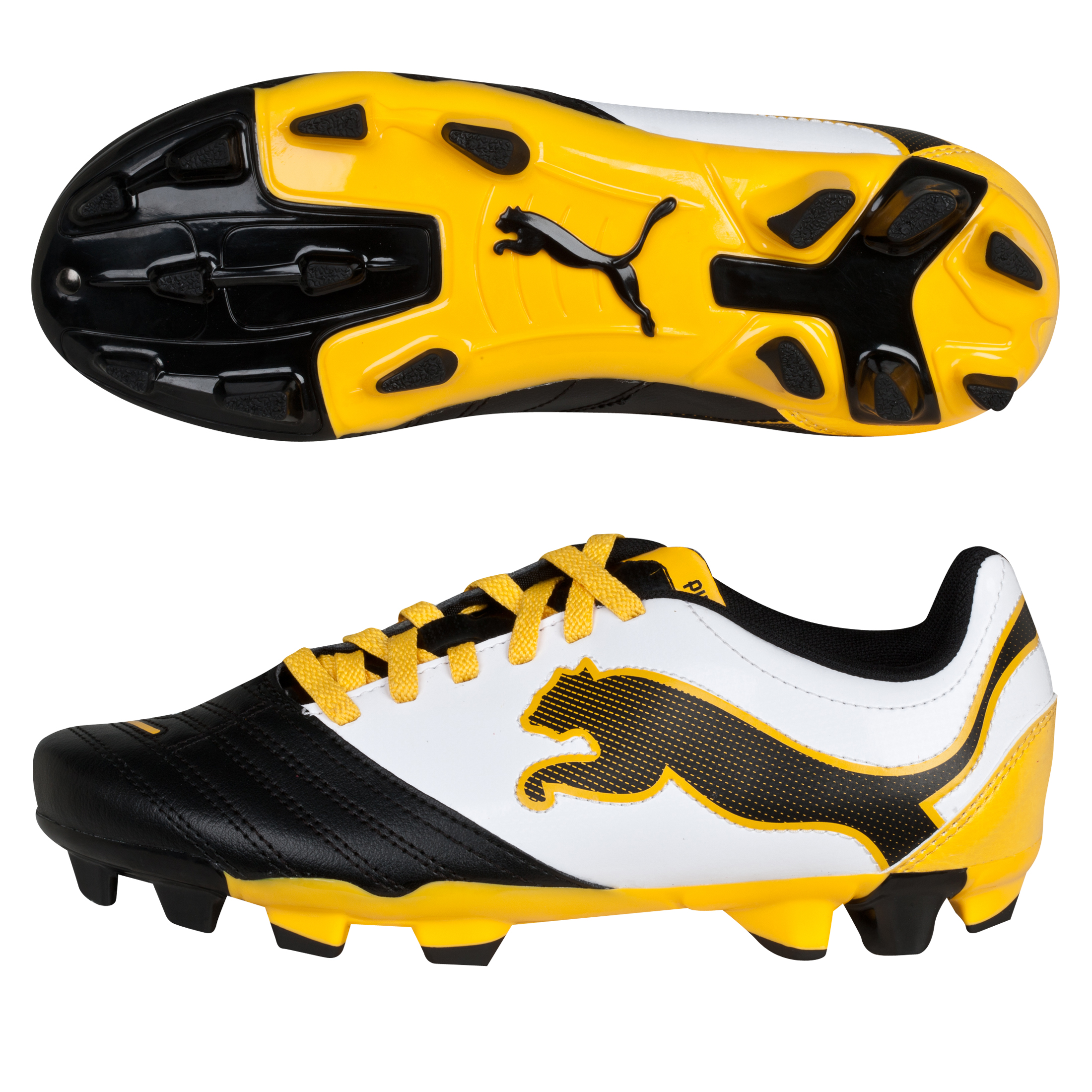 Puma PowerCat 4.12 Firm Ground Football Boots - Black/White/Team Yellow - Kids
