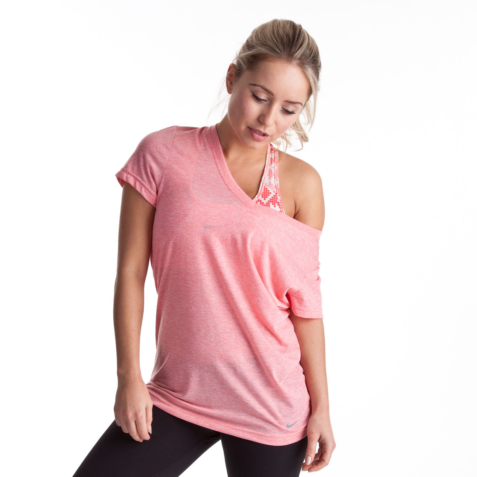 Nike Loose Tri Blend V-Neck T-Shirt - Brt Peach Htr/Cool Grey - Womens