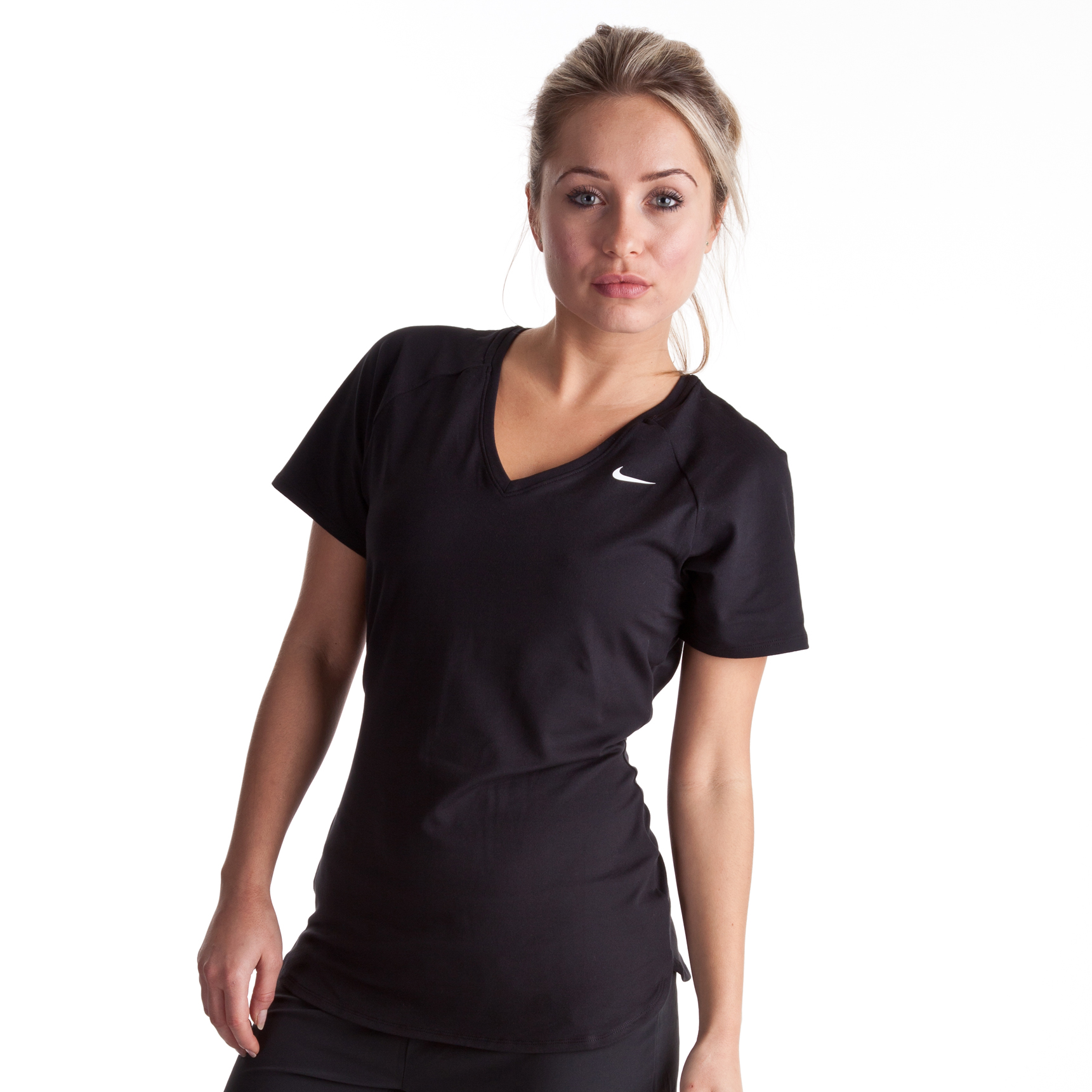 Nike Regular Club Short Sleeve Baselayer - Black/White - Womens