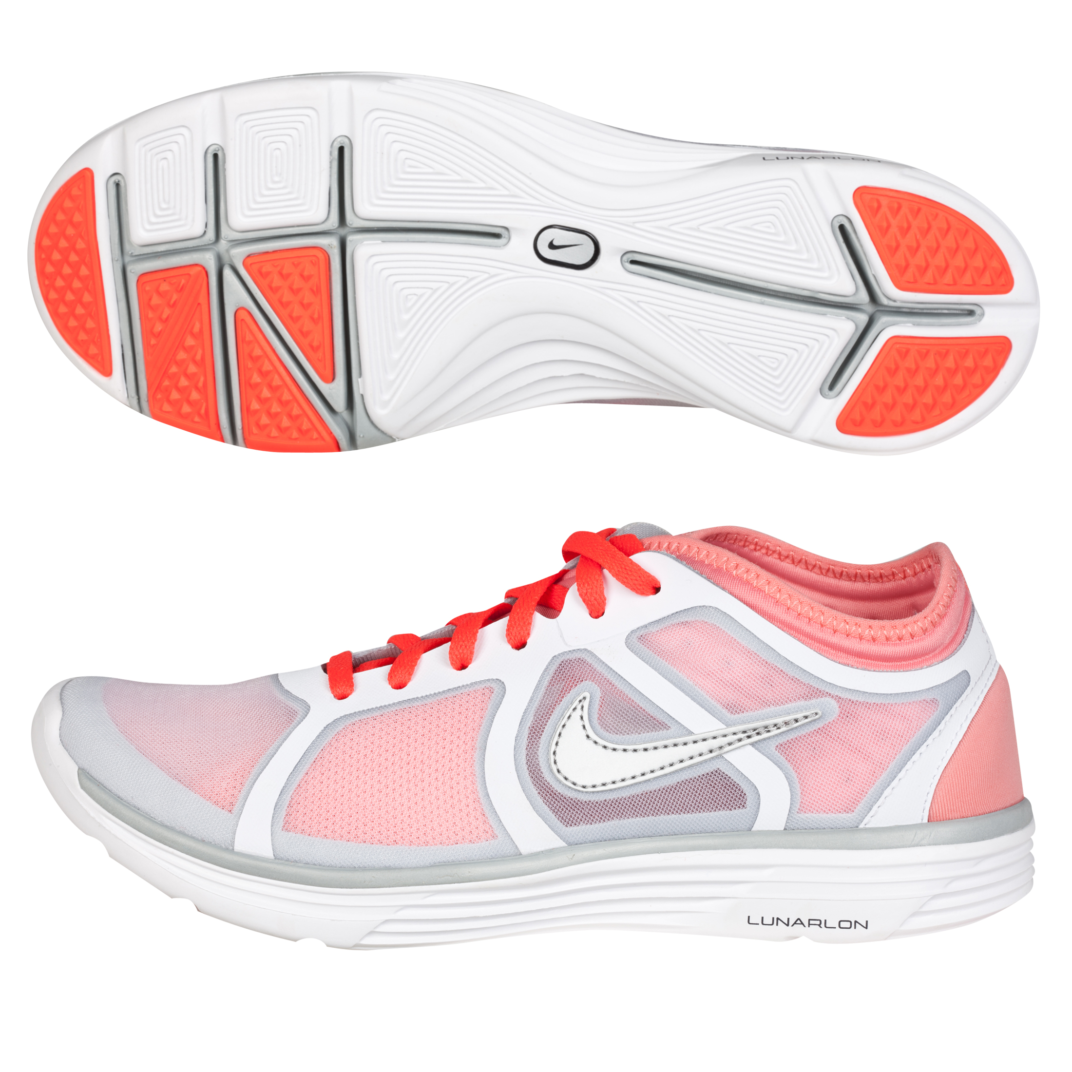 Nike Lunarbase Trainers - White/Mtllc Slvr-Brght Pch-Brg - Womens