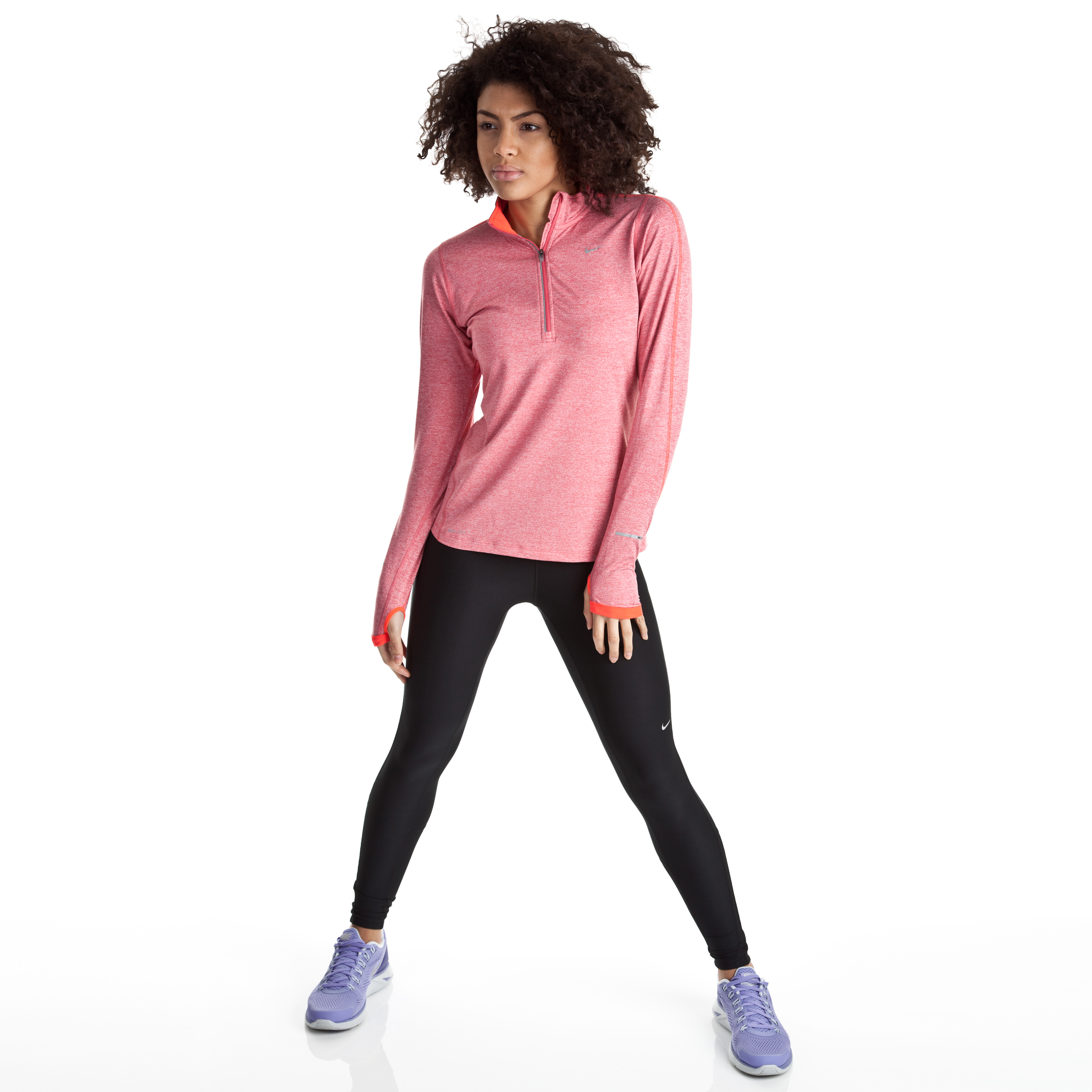 Nike Element Half Zip LS T-Shirt - Pink Clay/Htr/Reflective Silv - Womens