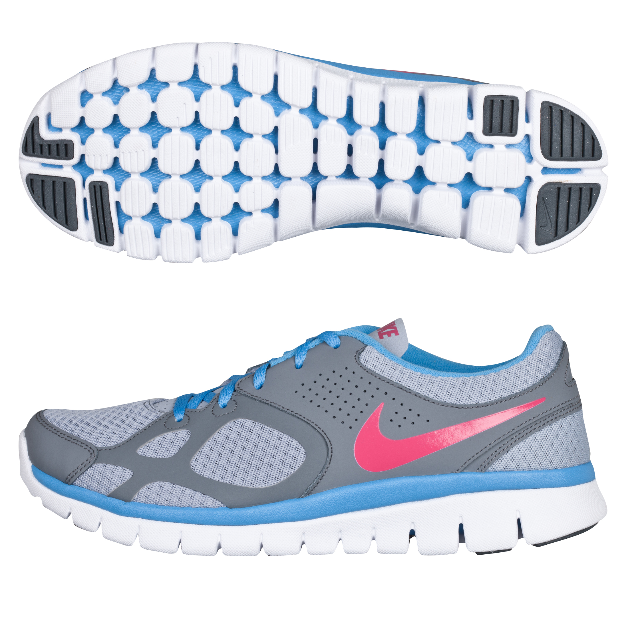 Nike Flex 2012 Running Trainers - Wolf Grey/University blue - Womens