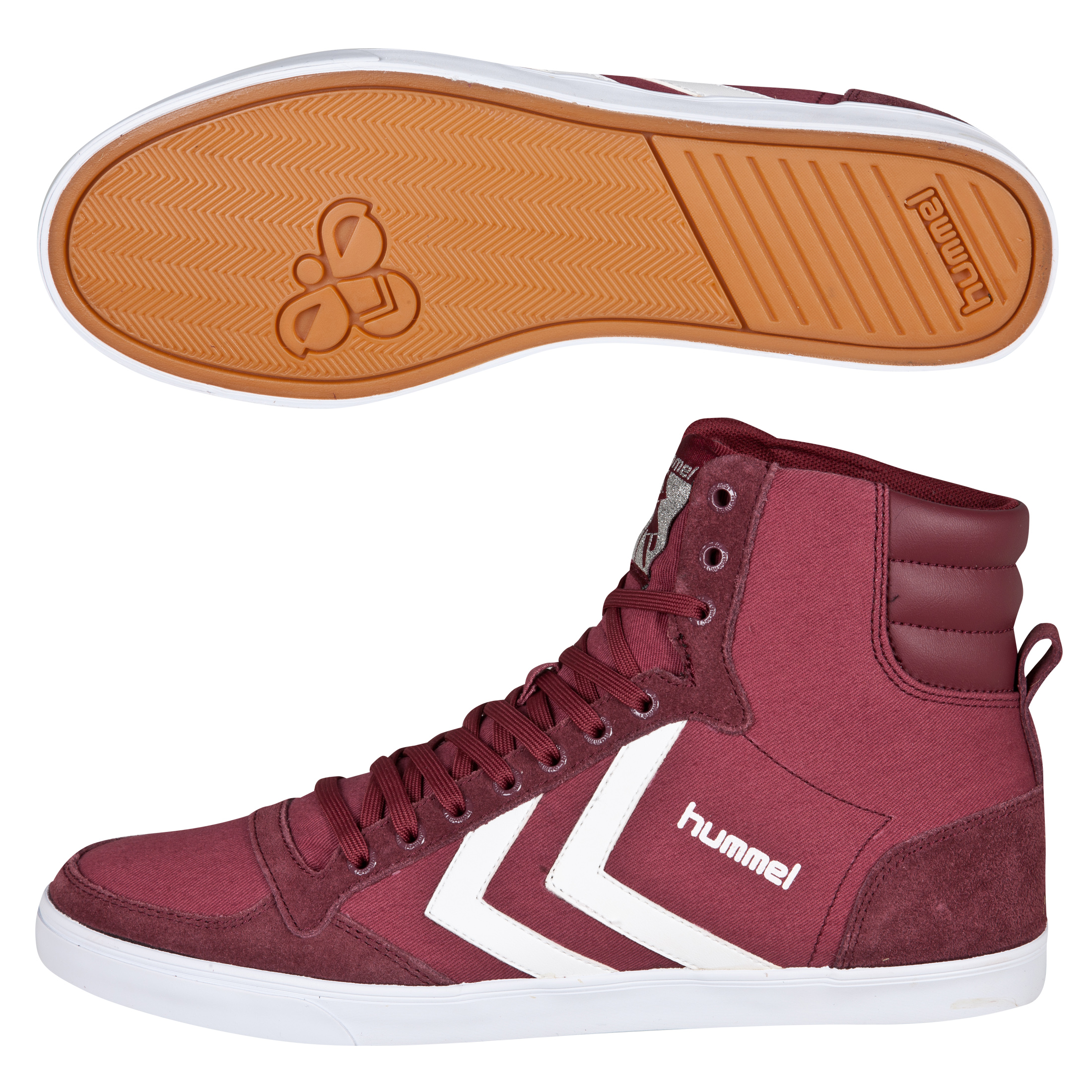 Hummel Slimmer Stadil High Canvas Trainers - Oxblood