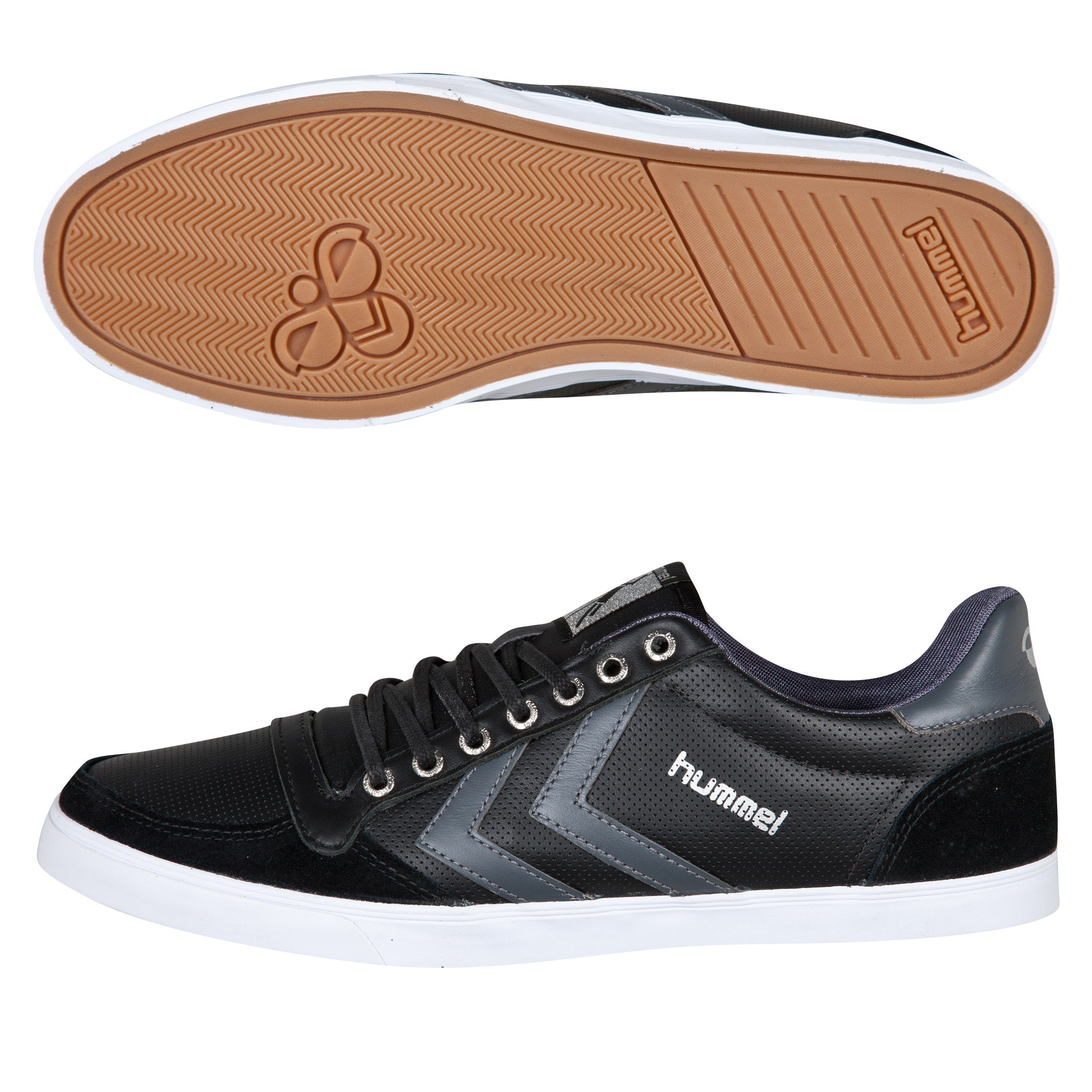 Hummel Slimmer Stadil Low Perf Leather Trainers - Black/Castlerock